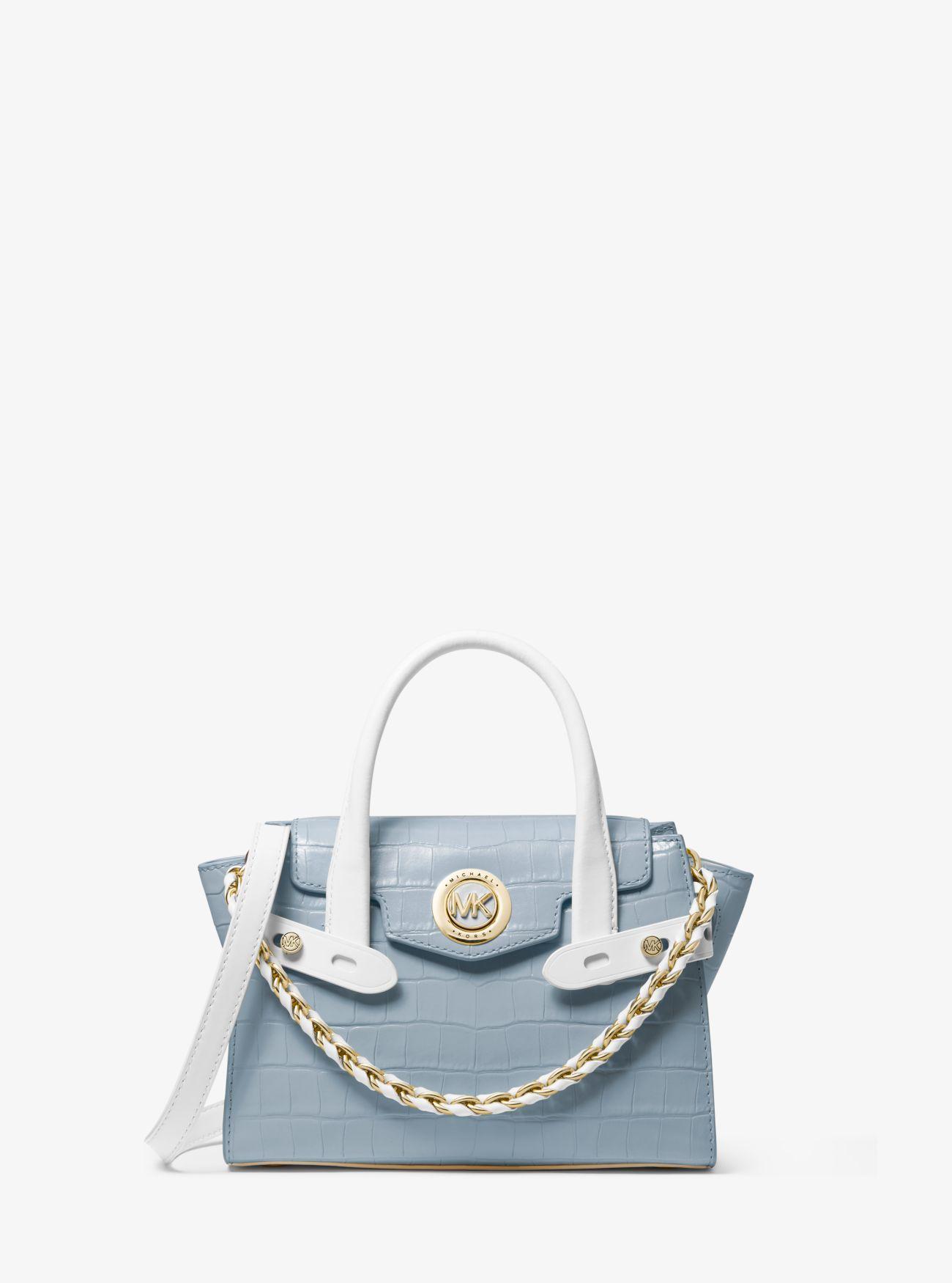 Très petit sac porté main Carmen en cuir bicolore à relief effet crocodile  et à ceinture