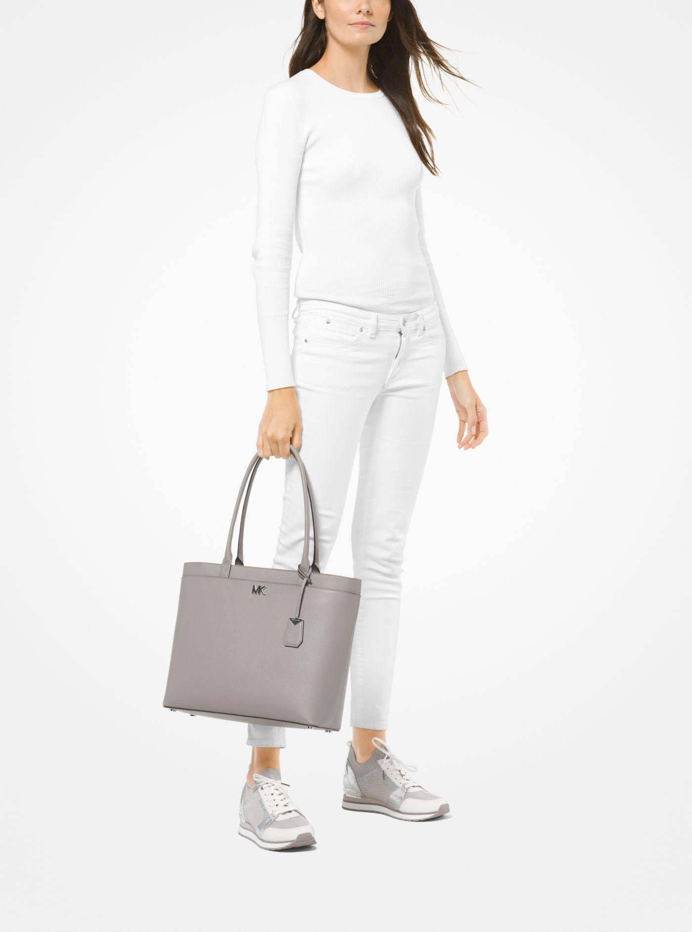 1ea3b4e16075 Michael Kors Maddie Large Crossgrain Leather Tote in Gray - Lyst