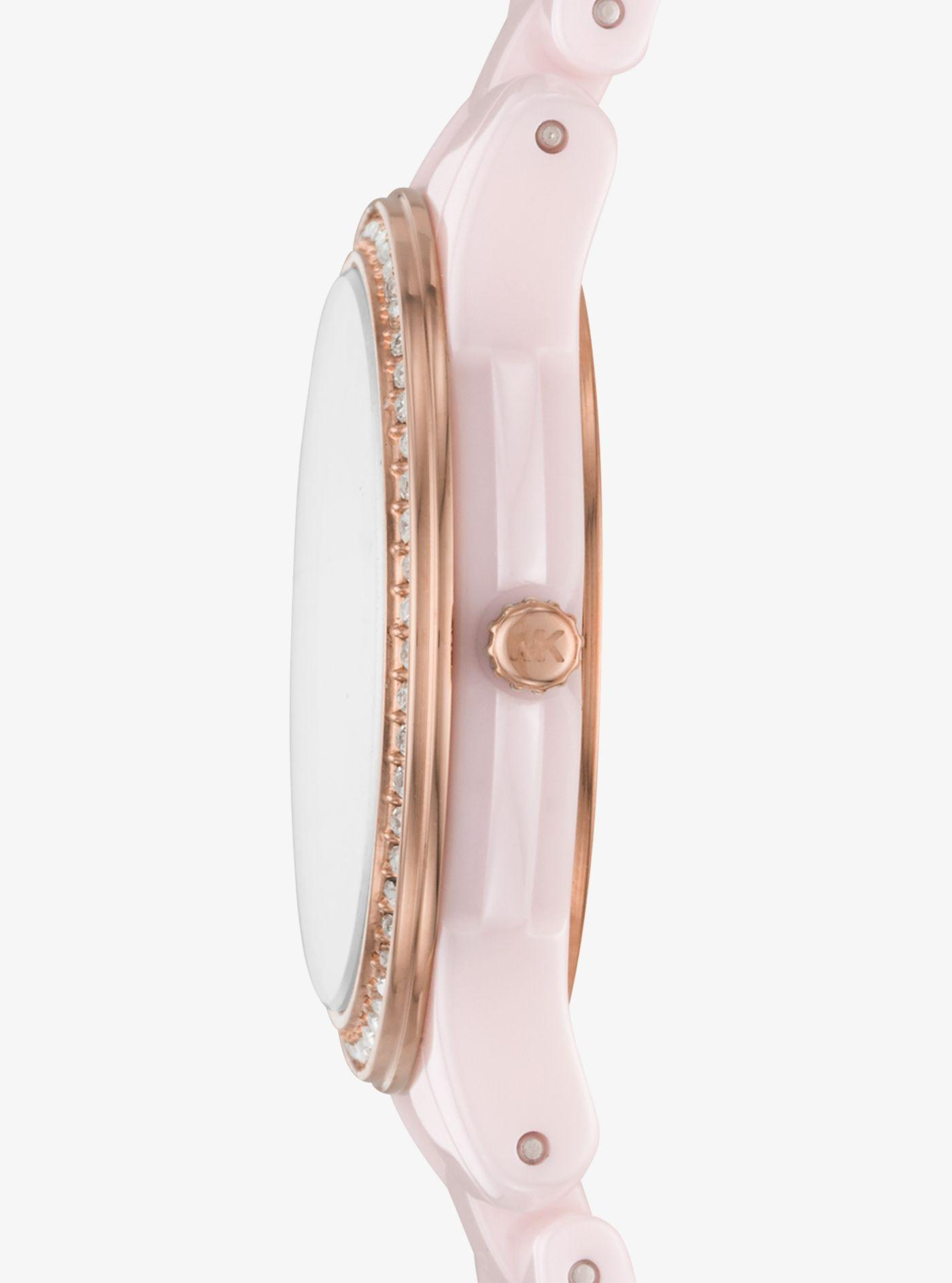 0953fa787af2 Michael Kors - Pink Petite Runway Pavé Ceramic Watch - Lyst. View fullscreen