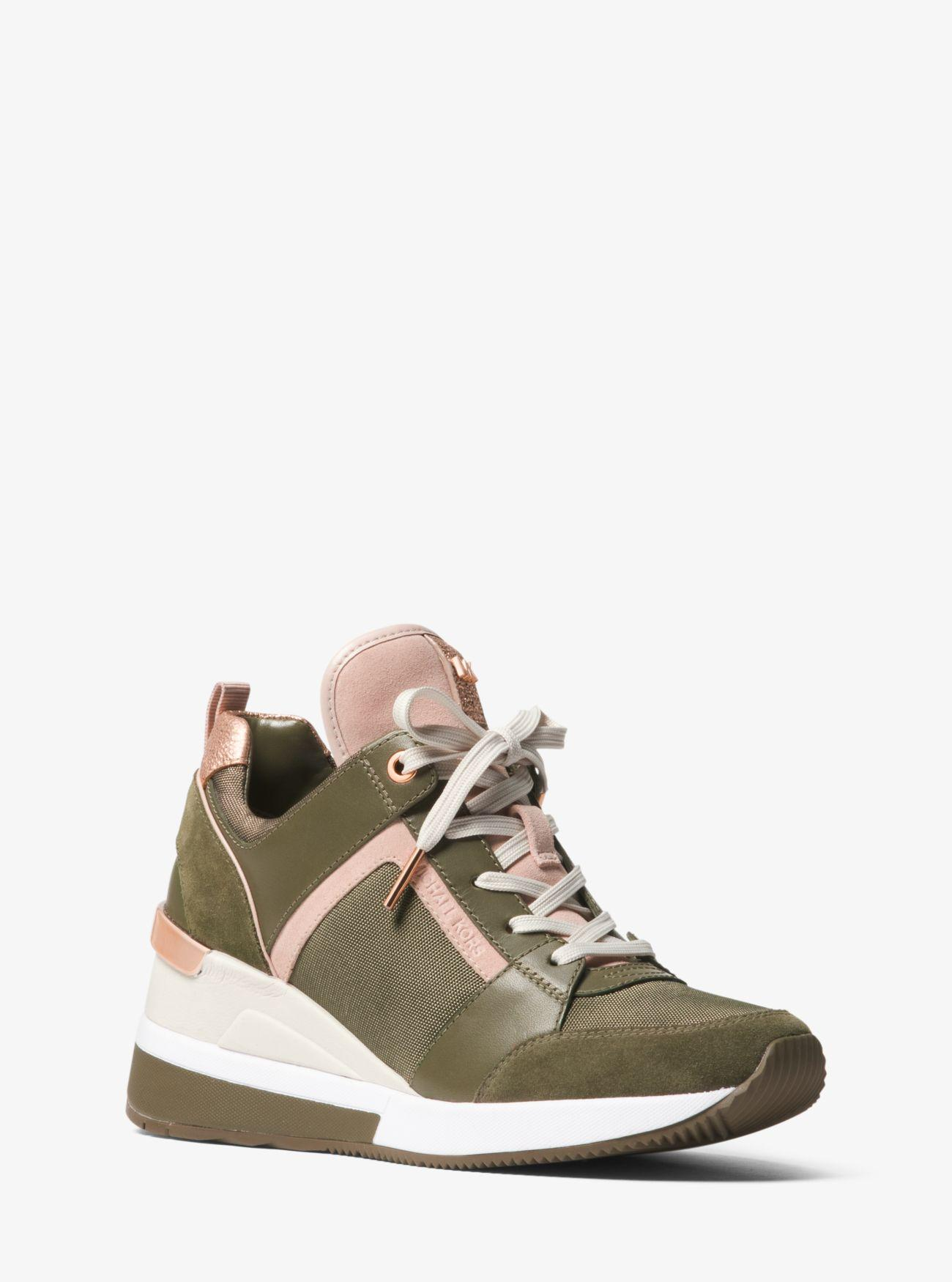 dd6b55d2e01 MICHAEL Michael Kors Georgie Canvas And Suede Sneaker in Green ...