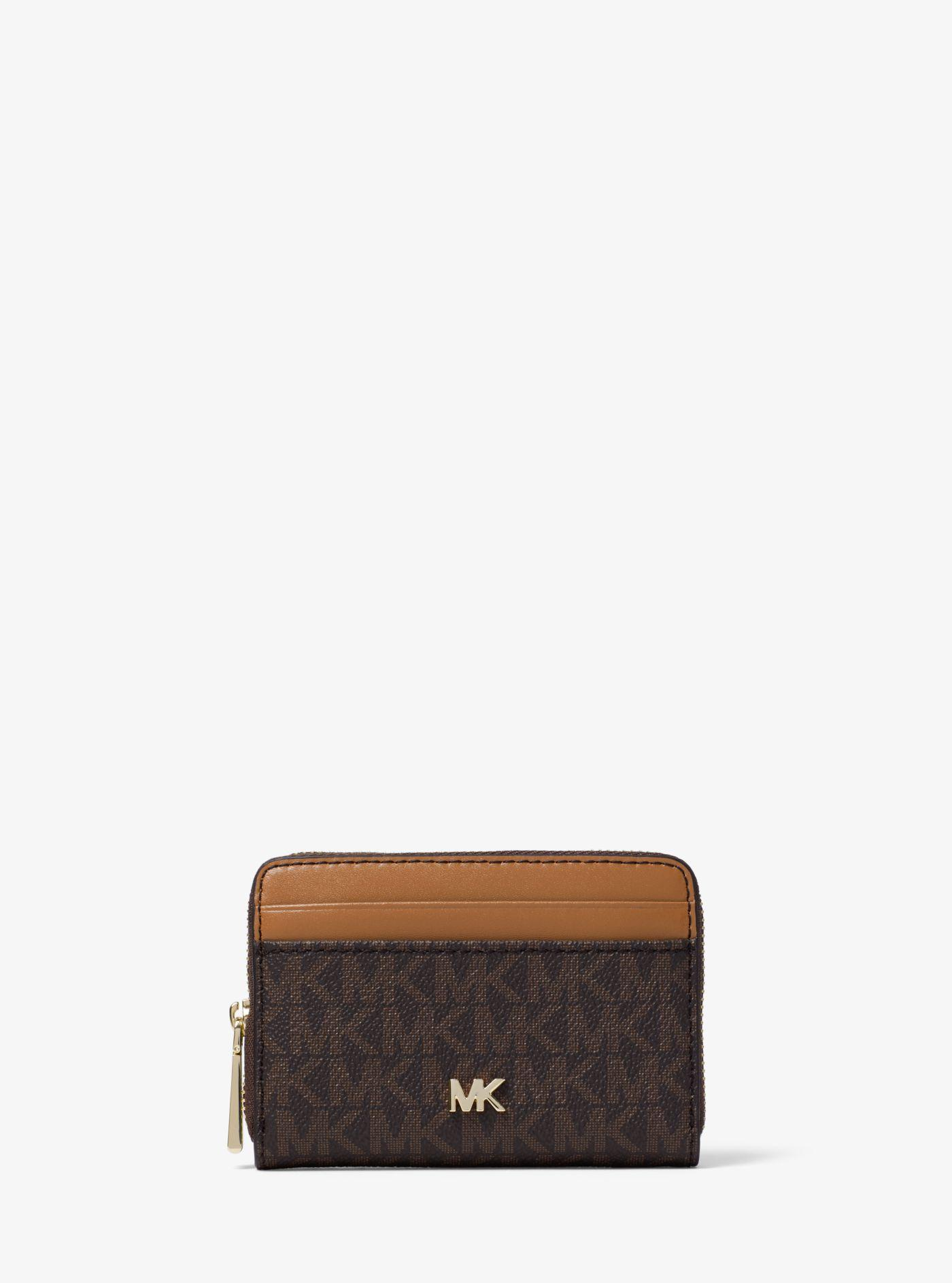 c8652c4cac0d Lyst - Michael Kors Small Logo And Leather Wallet in Brown
