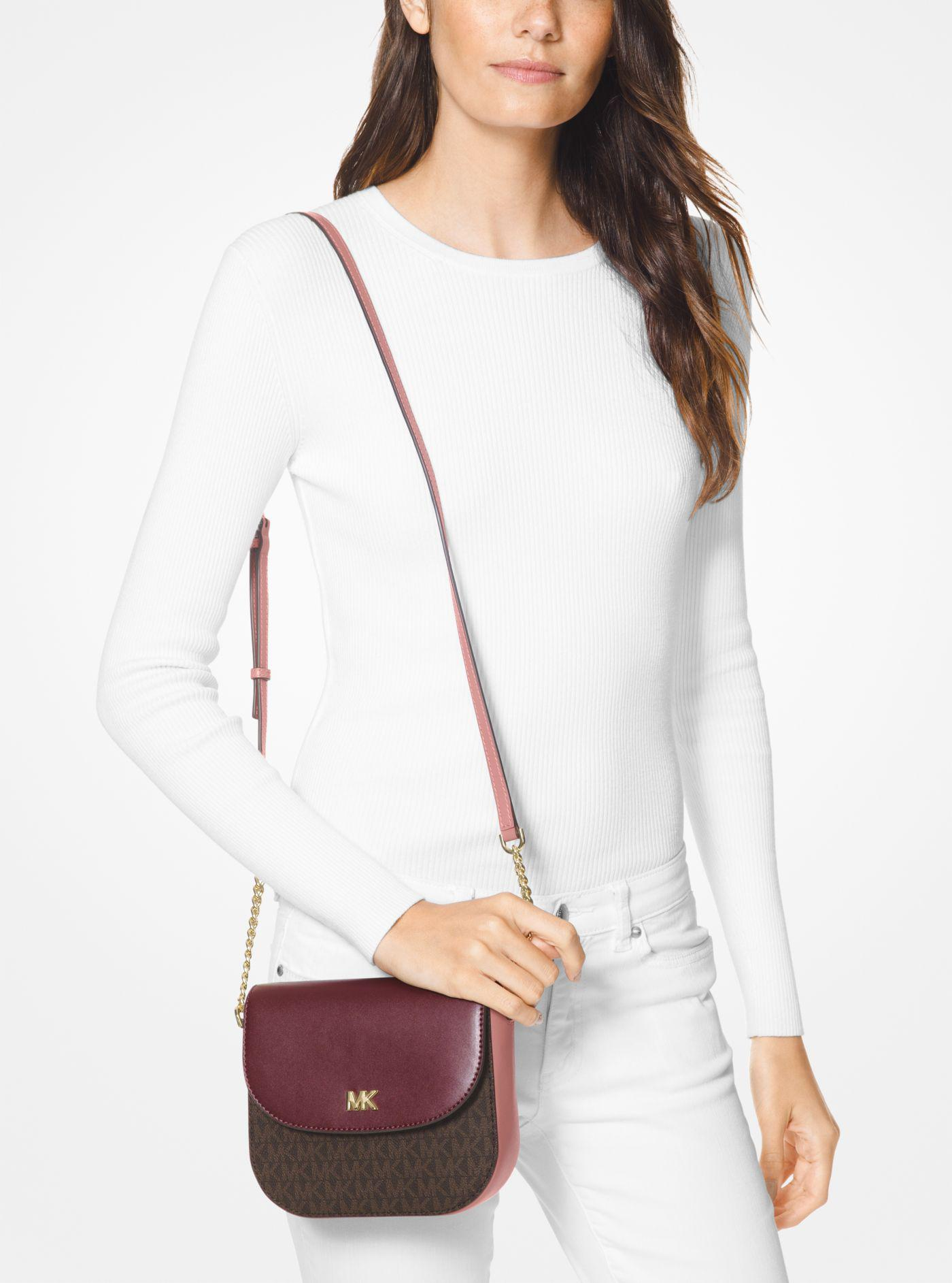 ef340046a2ef Michael Kors Mott Logo And Two-tone Leather Dome Crossbody - Lyst