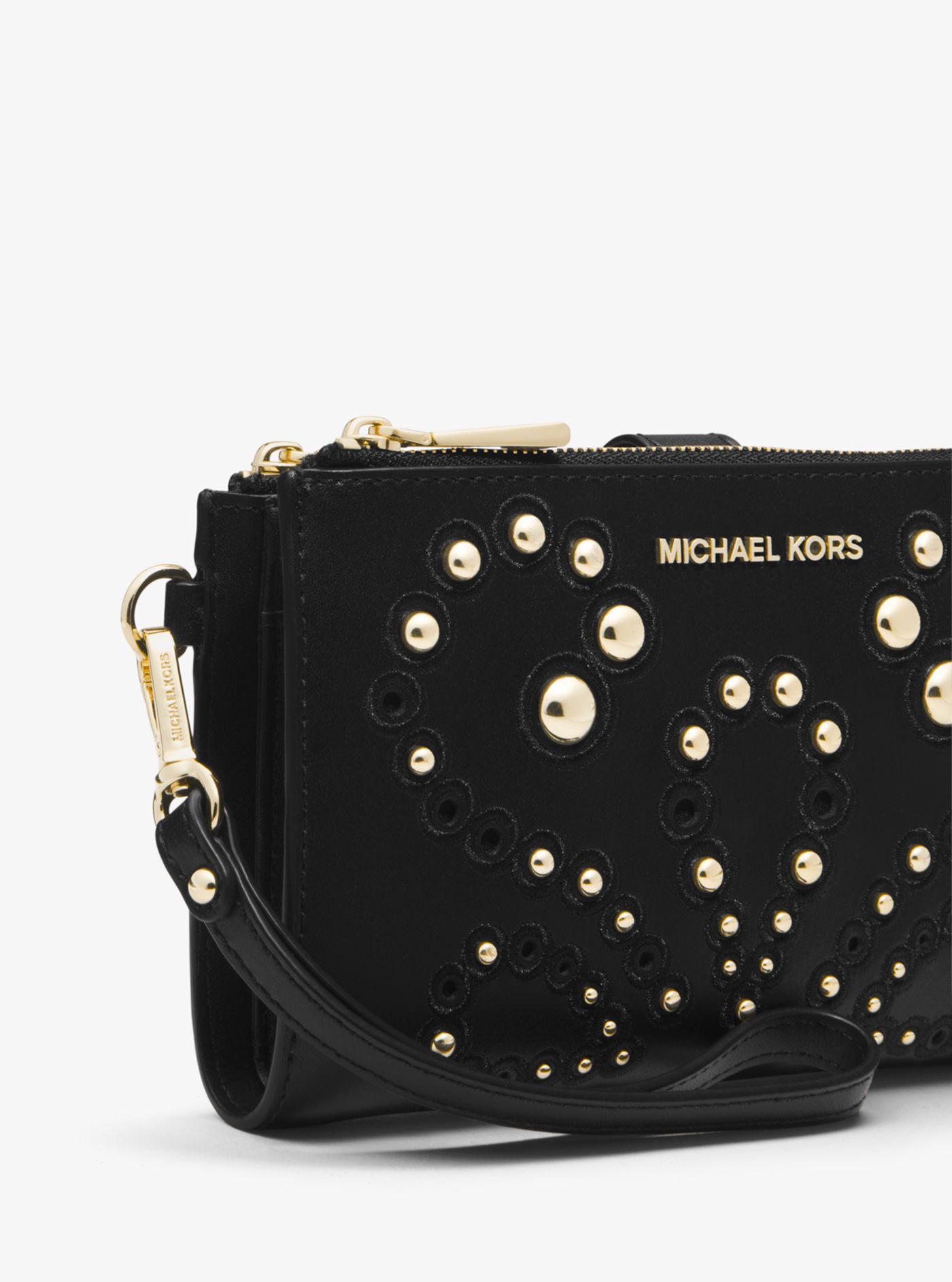 d35a0e7895f1 Michael Kors Adele Embellished Leather Smartphone Wallet in Black - Lyst