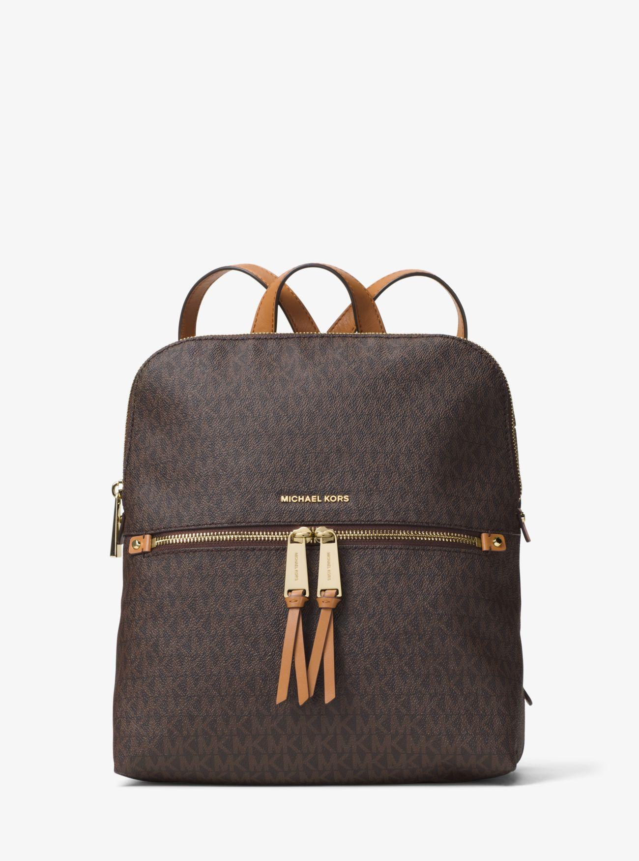 0c3b0fcfb43c Michael Kors - Brown Rhea Medium Slim Logo Backpack - Lyst. View fullscreen