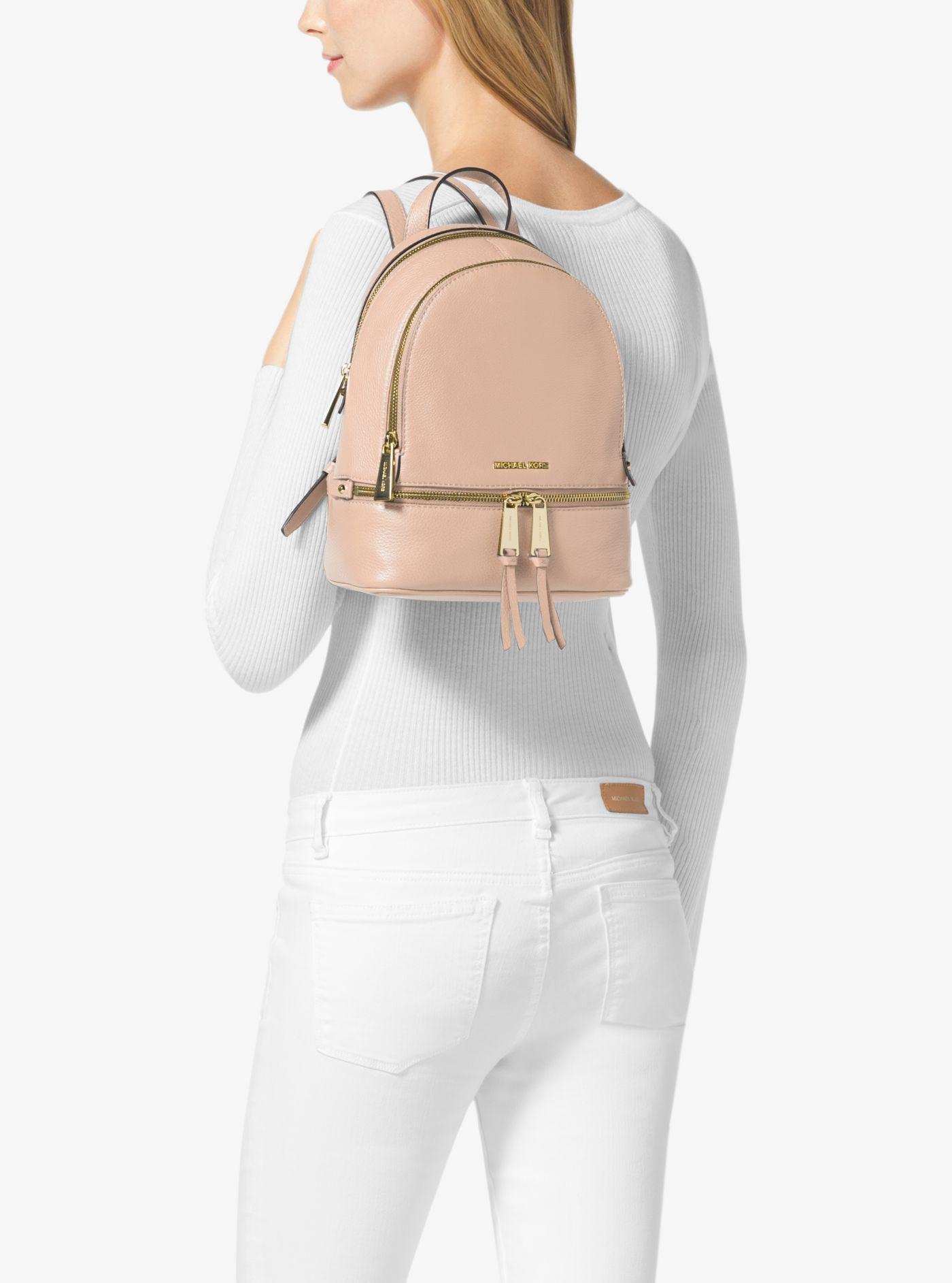 f93fad53f046 Michael Kors Rhea Extra-small Leather Backpack in Pink - Lyst