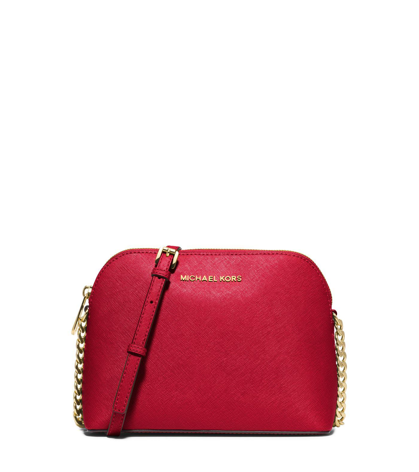 a388a2c7fbca Lyst - Michael Kors Cindy Large Saffiano Leather Crossbody Bag in Red