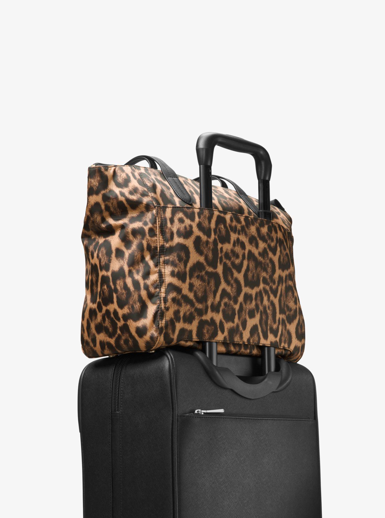 8505425dc0e45 Lyst - Michael Kors Kelsey Leopard Nylon Tote