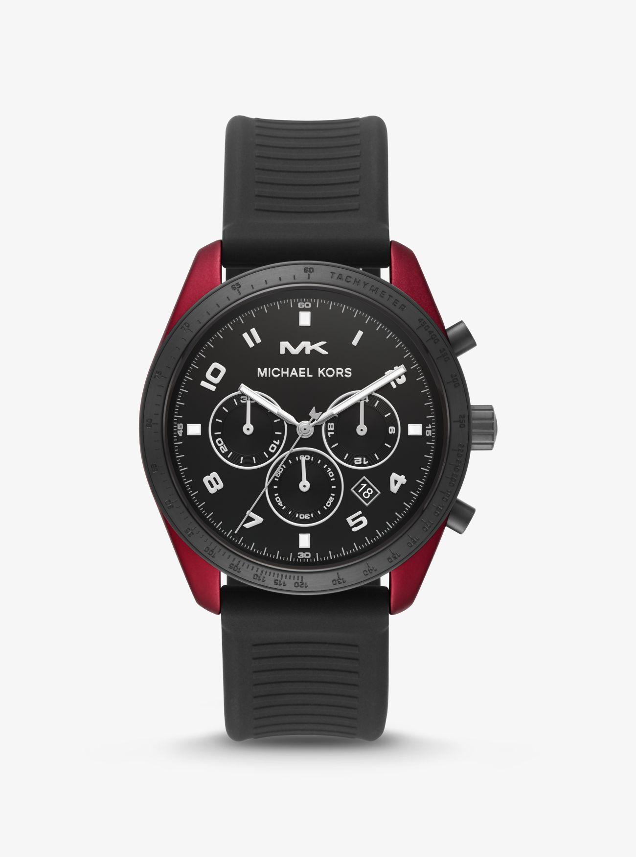 1cf39c4f1 Michael Kors. Women's Black Oversized Keaton Coated Stainless Steel And  Silicone Watch