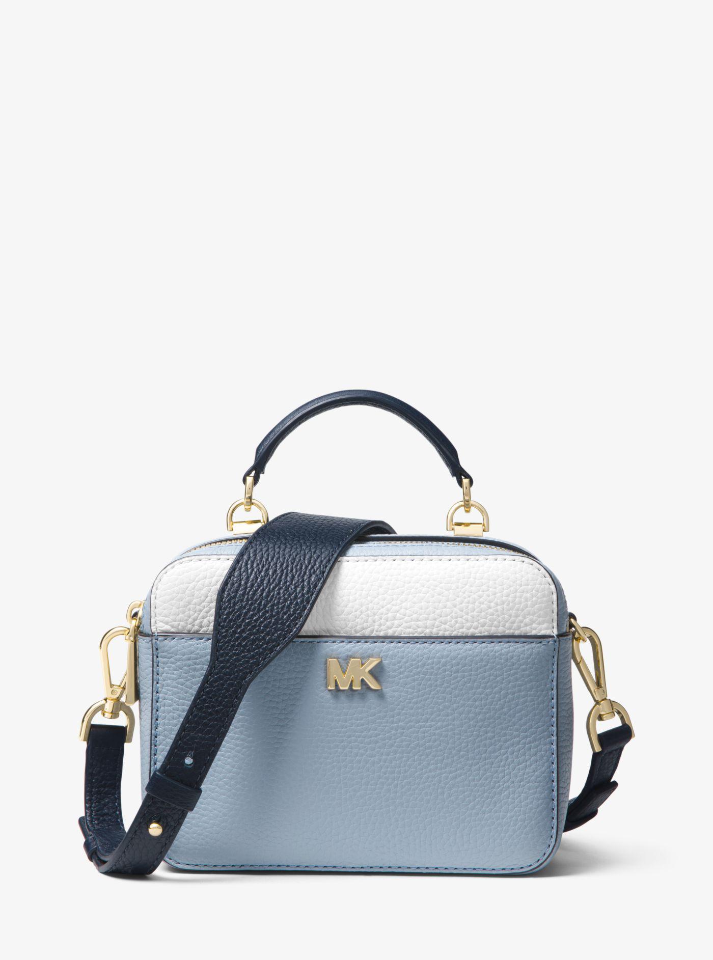 d0e5ad9f26a7 Michael Kors Mott Mini Color-block Pebbled Leather Crossbody in Blue ...