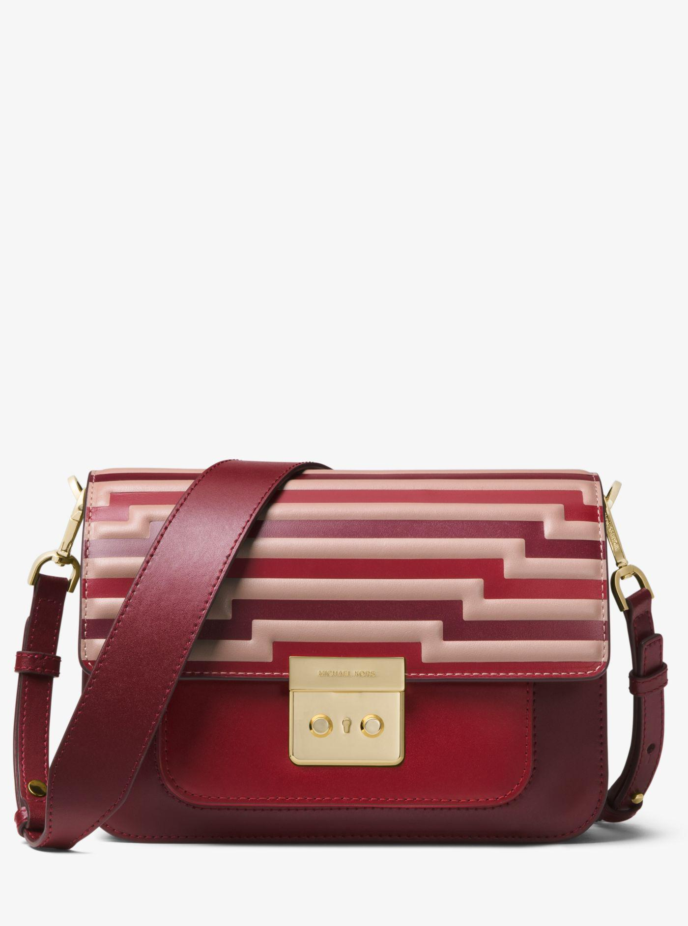 e48c5166d5cf Lyst - Michael Kors Sloan Editor Tri-color Leather Shoulder Bag in Red