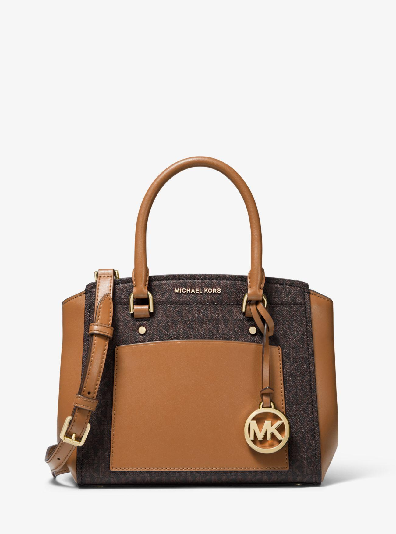 4df5b778322 MICHAEL Michael Kors. Women's Brown Park Medium Logo And Leather Satchel