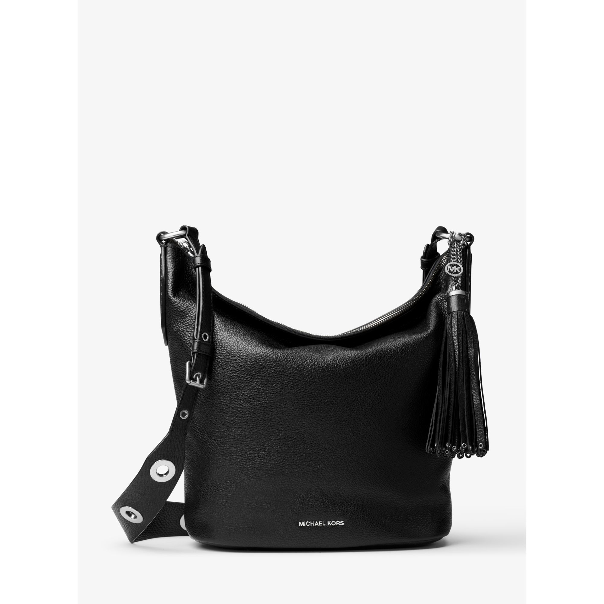 8b8565899892 Lyst - Michael Kors Brooklyn Large Leather Feed Bag in Black
