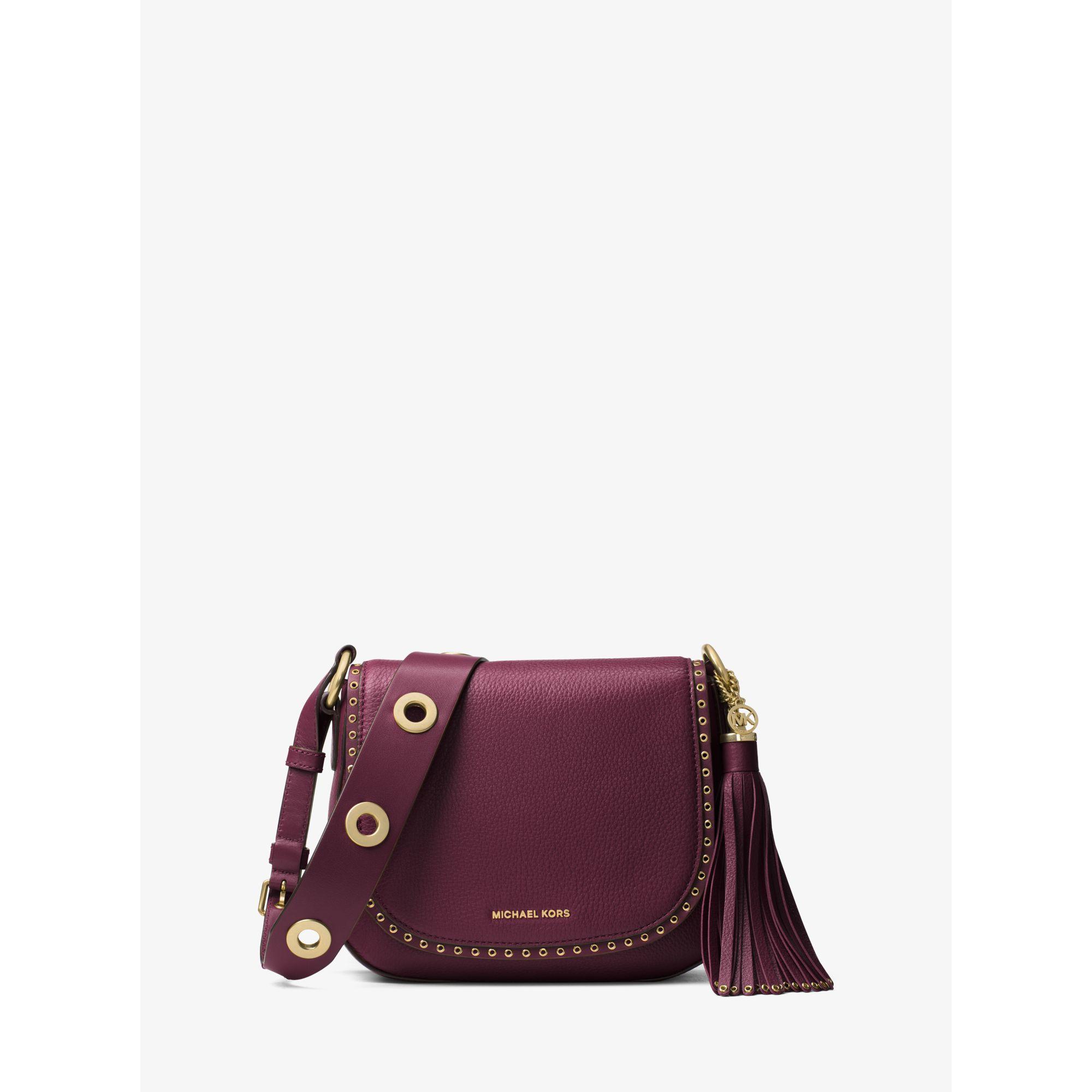 168052d68821 Michael Kors Brooklyn Medium Leather Saddlebag - Lyst