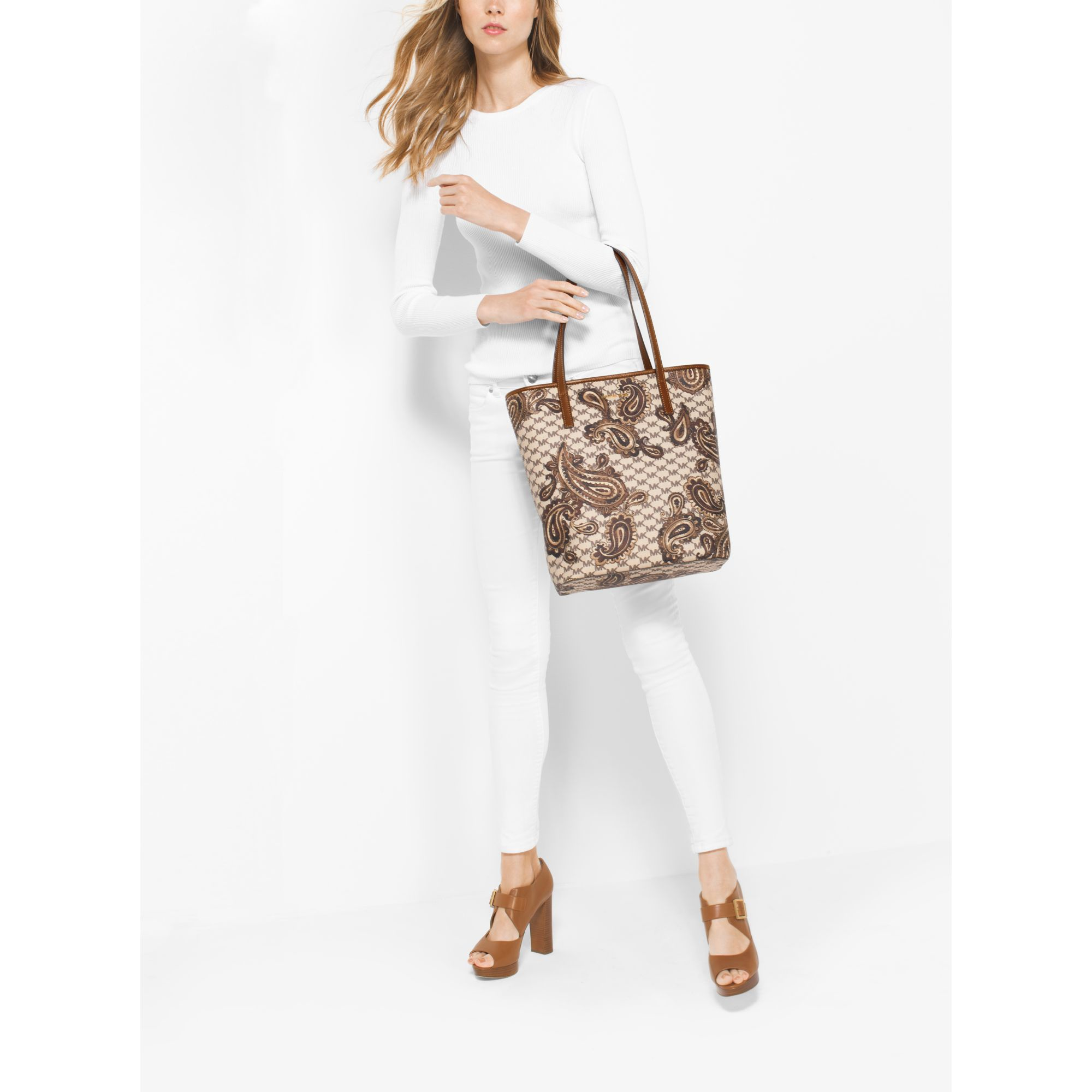 230afa2946d7 ... Michael kors Emry Large Northsouth Heritage Paisley Tote in ...