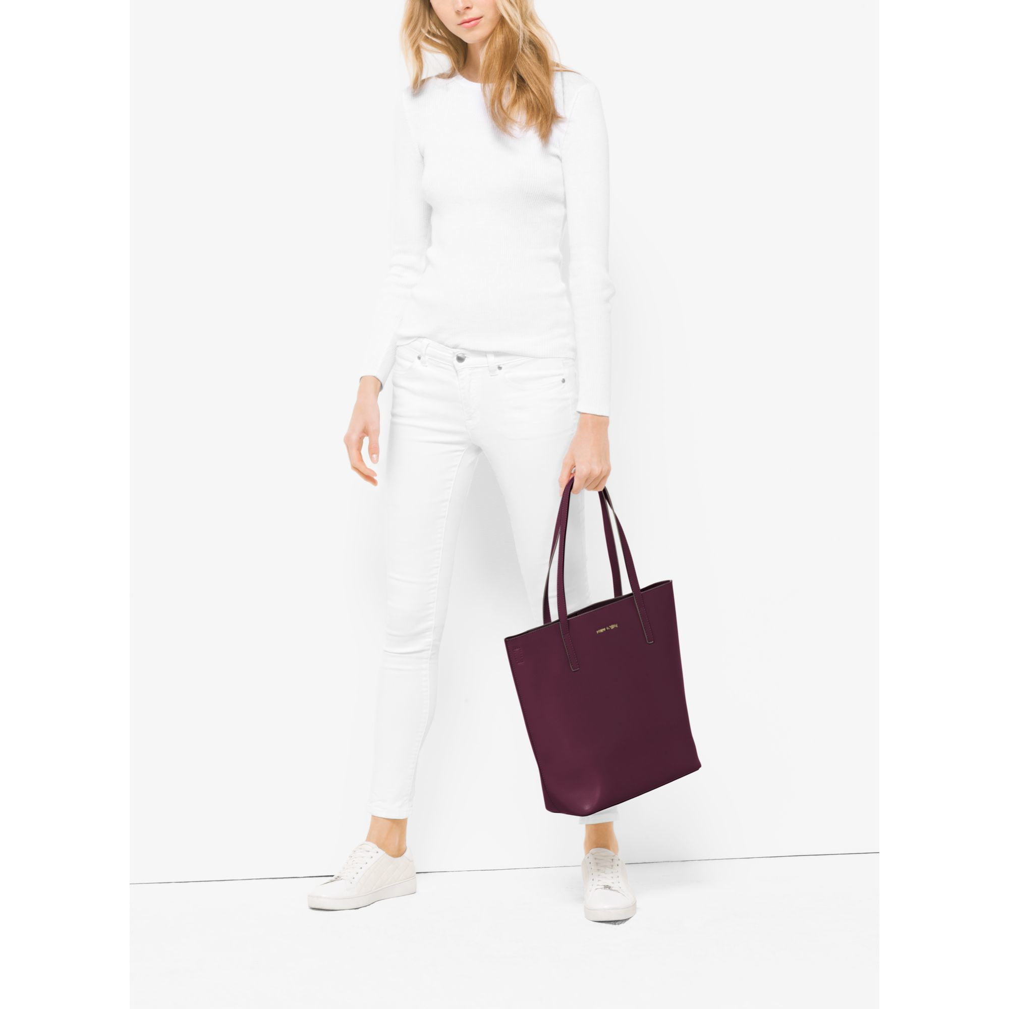 b3deae730a96 Michael Kors Emry Large Leather Tote in Purple - Lyst