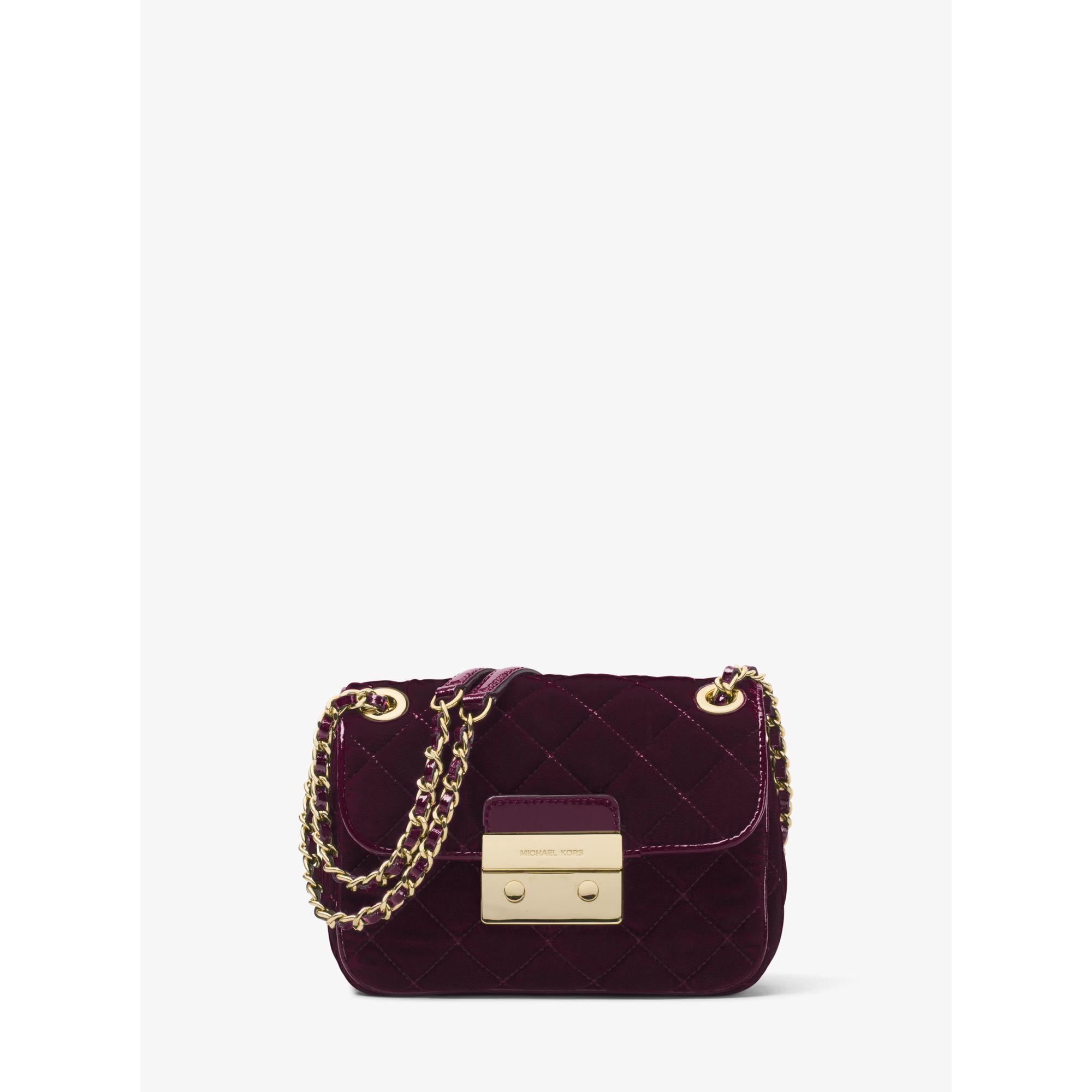 05e1c2b40535b Lyst - Michael Kors Sloan Small Quilted-Velvet Shoulder Bag in Purple