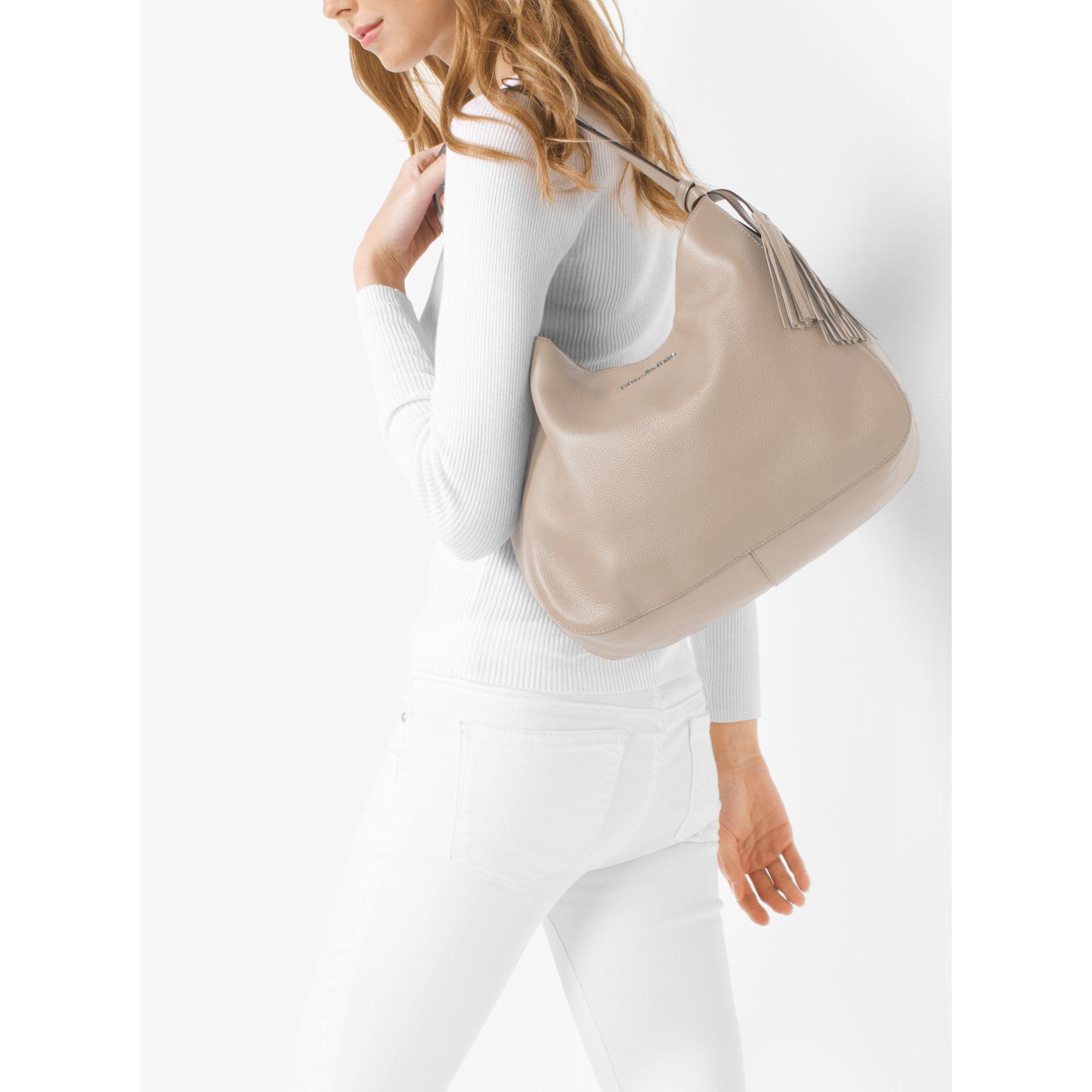 Michael kors Ashbury Large Leather Shoulder Bag in Natural | Lyst
