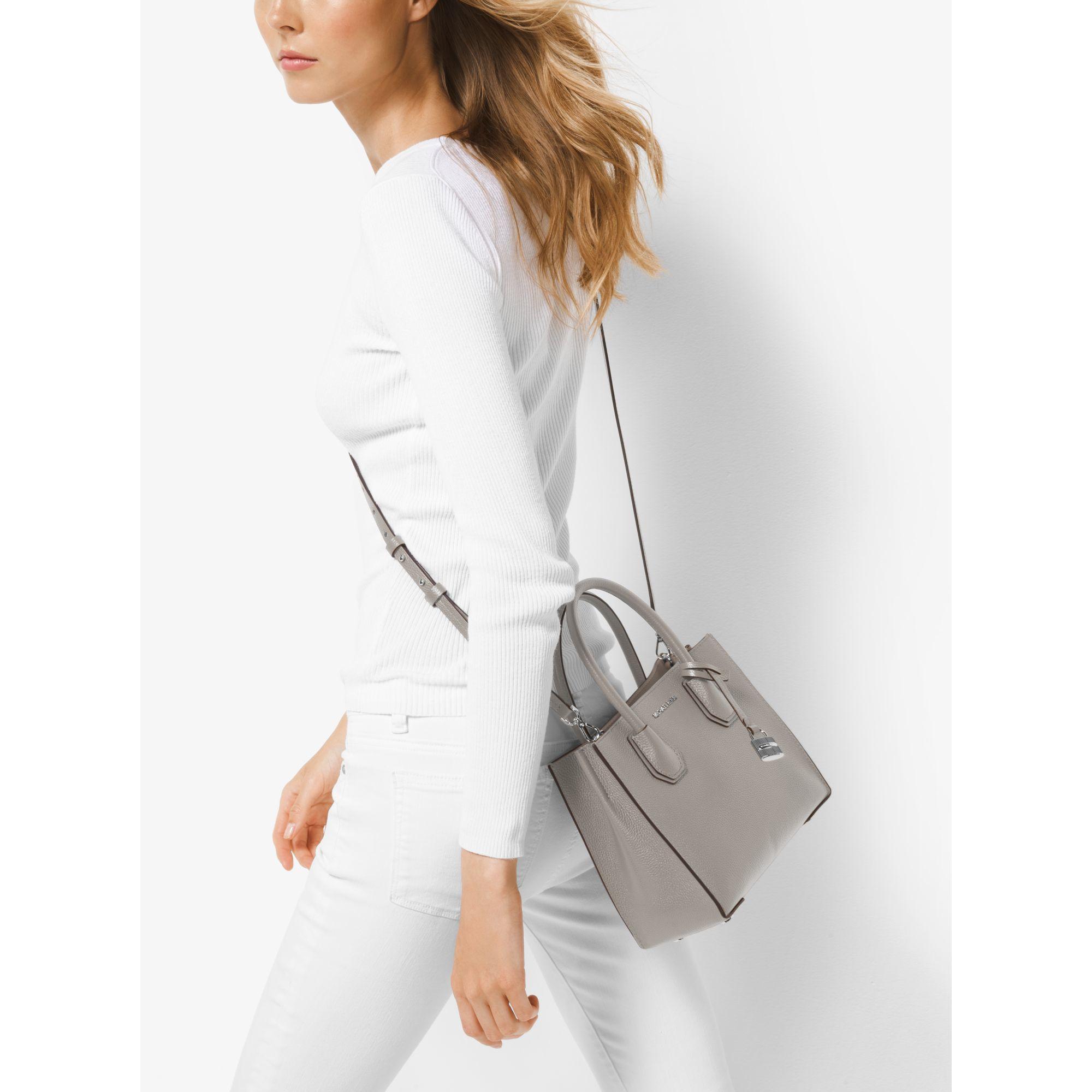 michael kors mercer medium leather cross body bag in gray. Black Bedroom Furniture Sets. Home Design Ideas