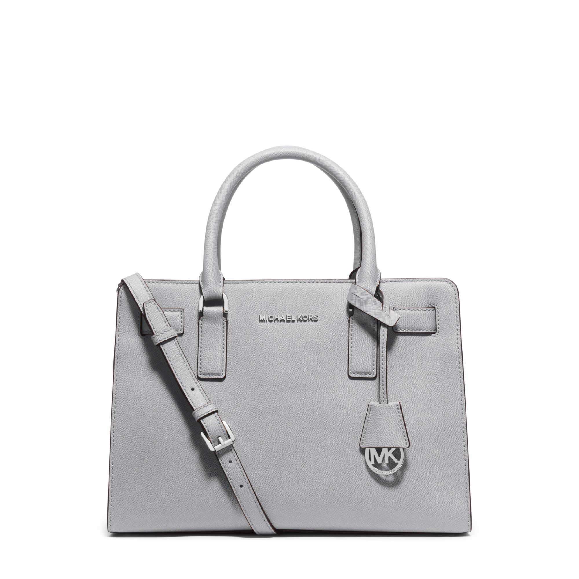 f653b901ee372 Lyst - Michael Kors Dillon Saffiano Leather Satchel in Gray