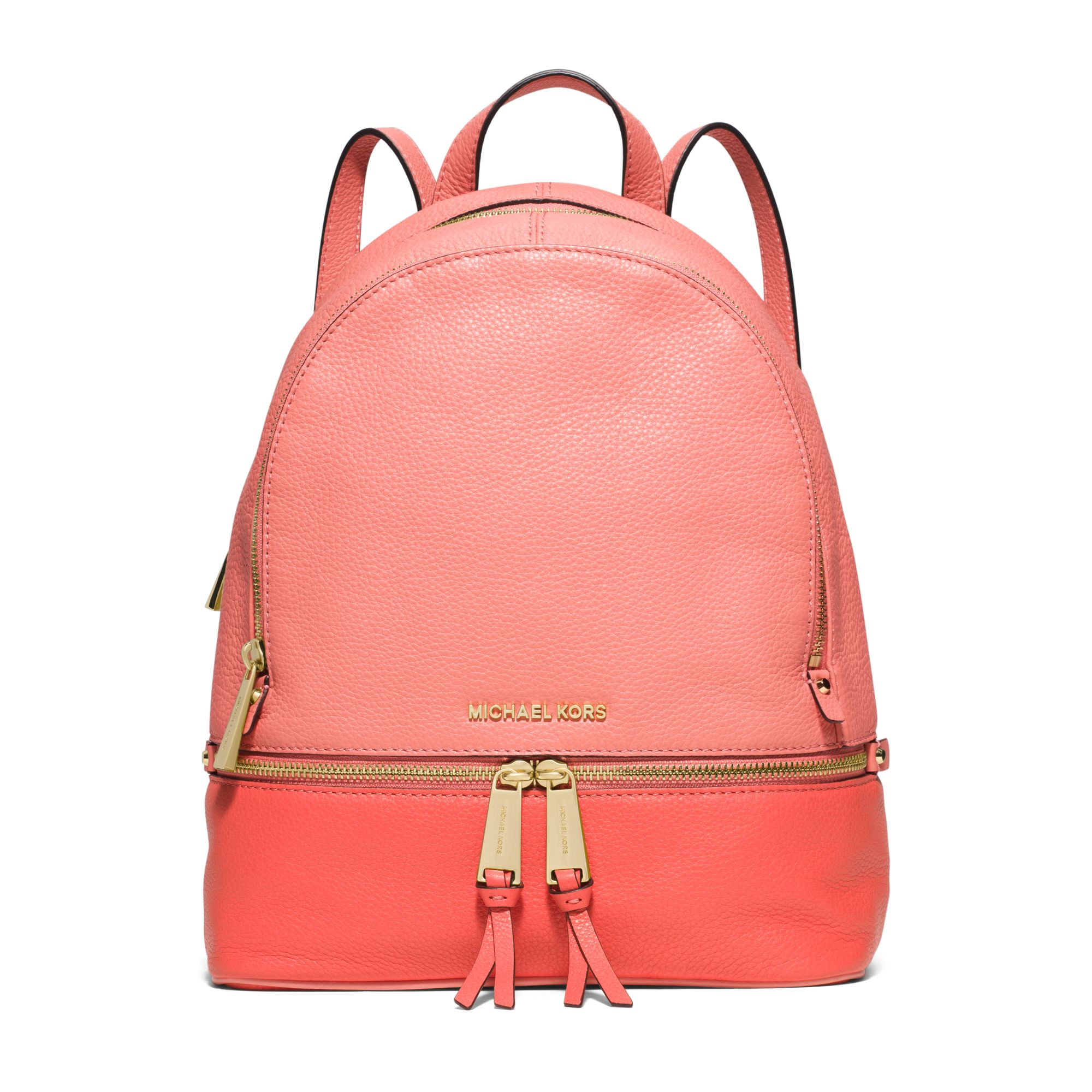 0583e7a2f907 Michael Kors Rhea Medium Color-block Leather Backpack in Pink - Lyst