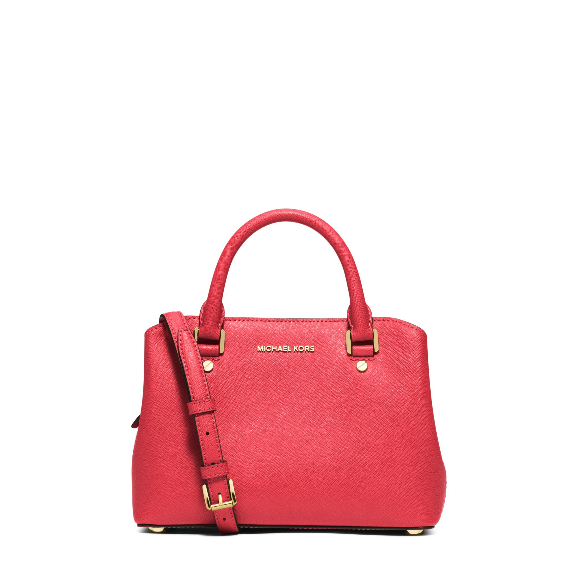 michael kors savannah small saffiano leather satchel in pink lyst. Black Bedroom Furniture Sets. Home Design Ideas