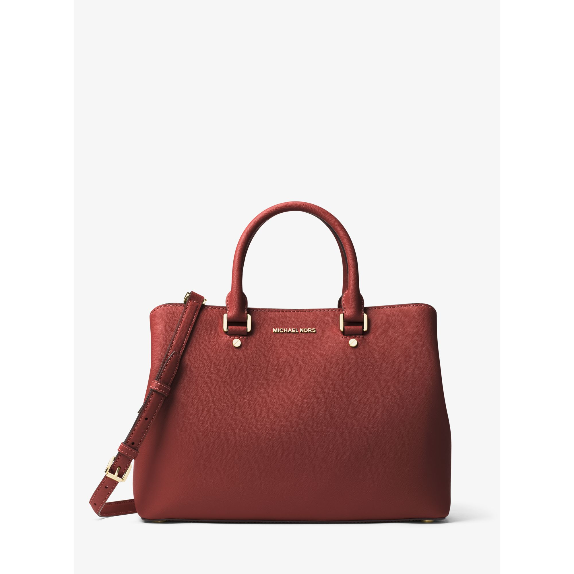 michael kors savannah large saffiano leather satchel in red lyst. Black Bedroom Furniture Sets. Home Design Ideas