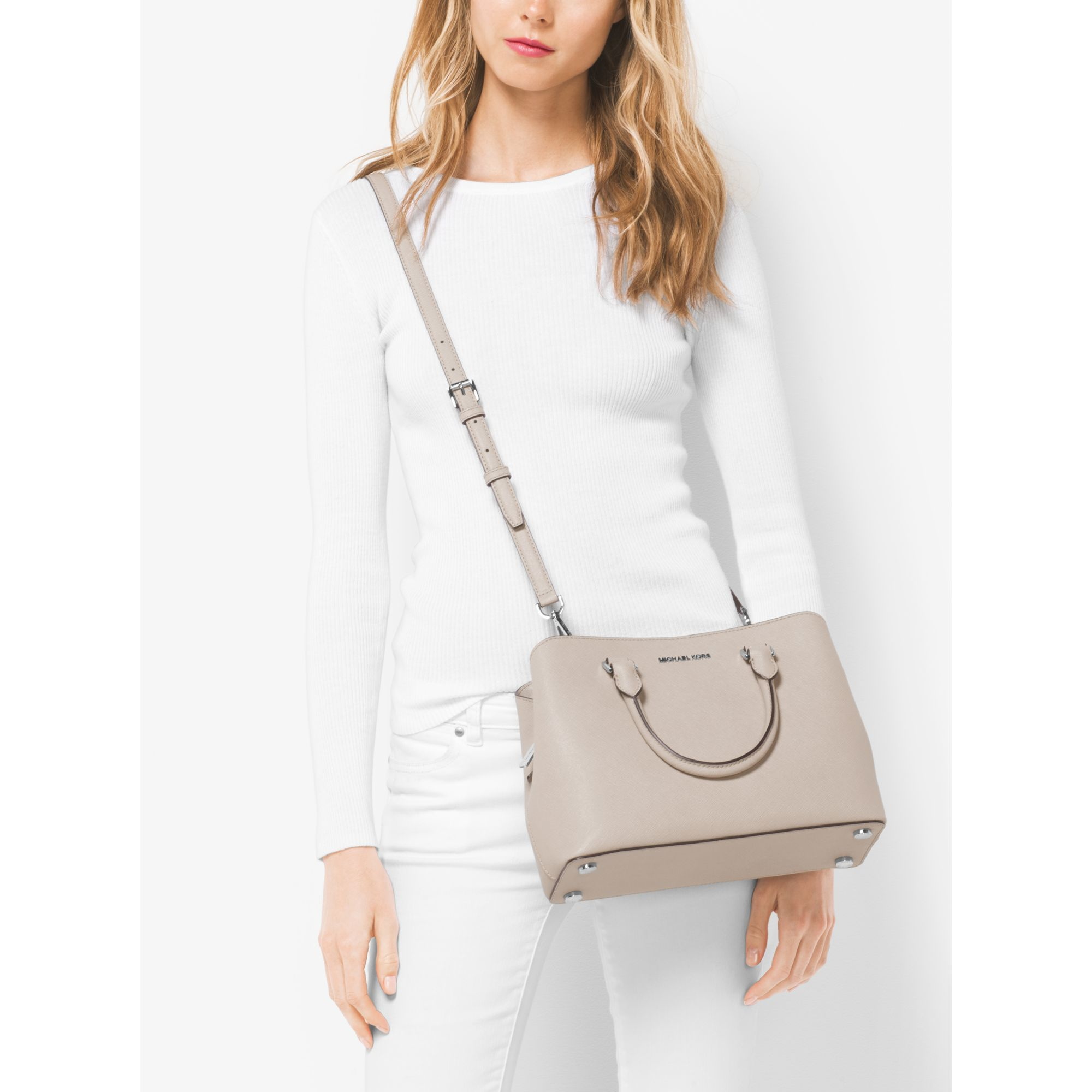 michael kors savannah medium saffiano leather satchel in gray lyst. Black Bedroom Furniture Sets. Home Design Ideas