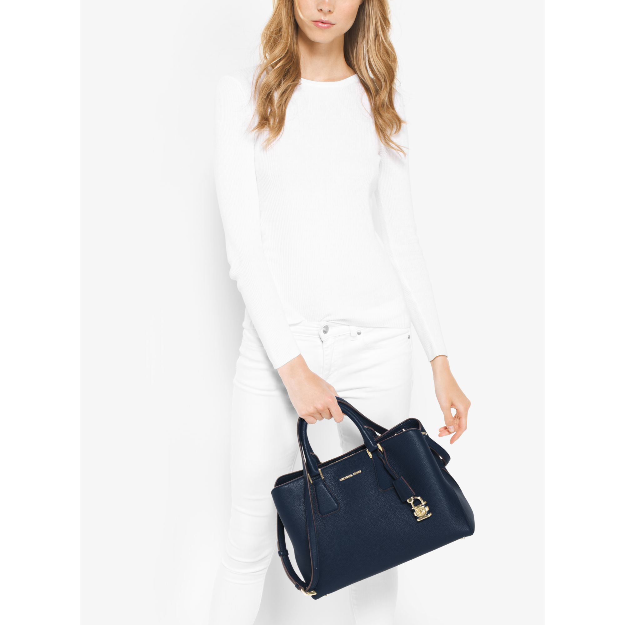 a77abb4e9f5b Michael Kors Camille Large Leather Satchel in Blue - Lyst