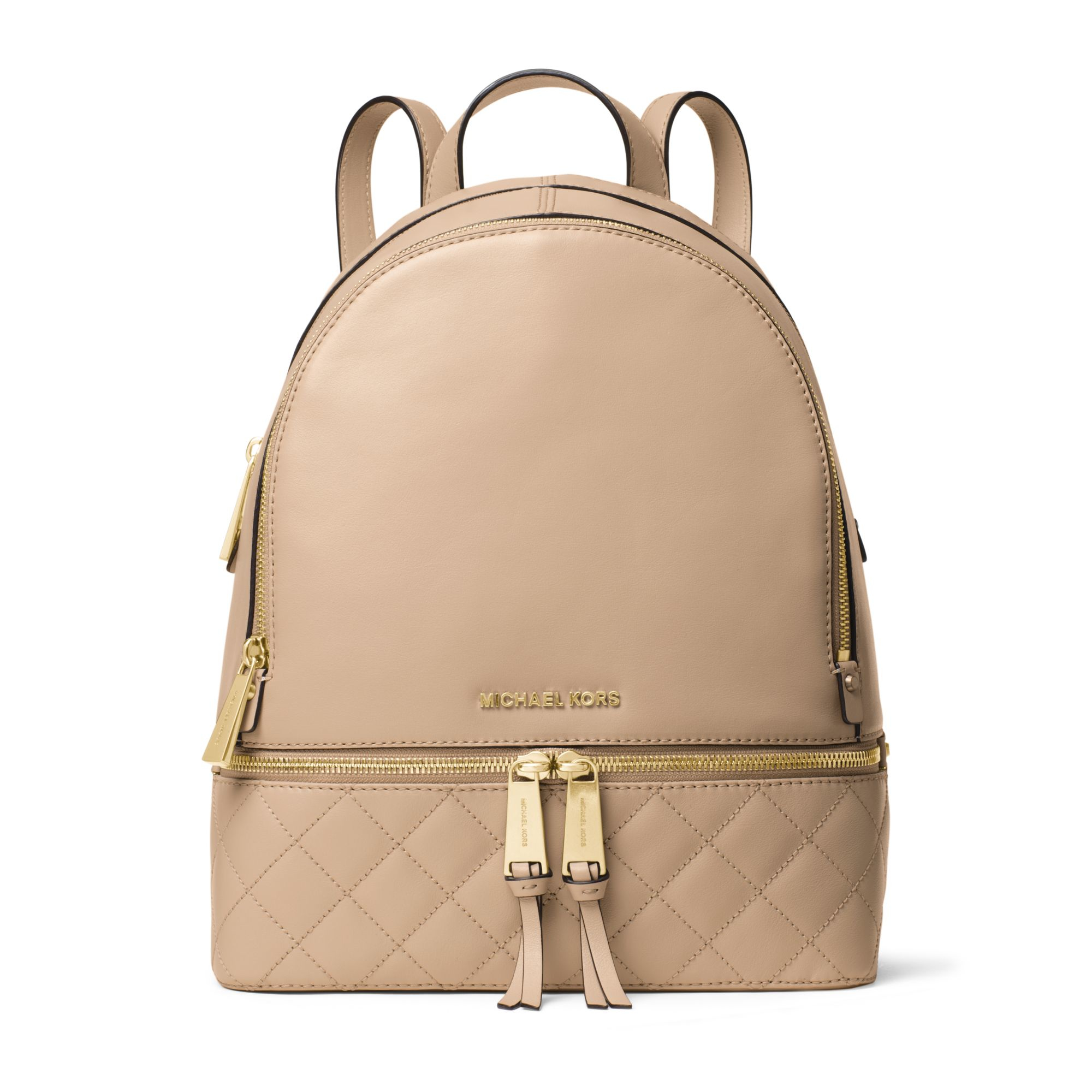 michael kors rhea medium quilted leather backpack in natural lyst. Black Bedroom Furniture Sets. Home Design Ideas