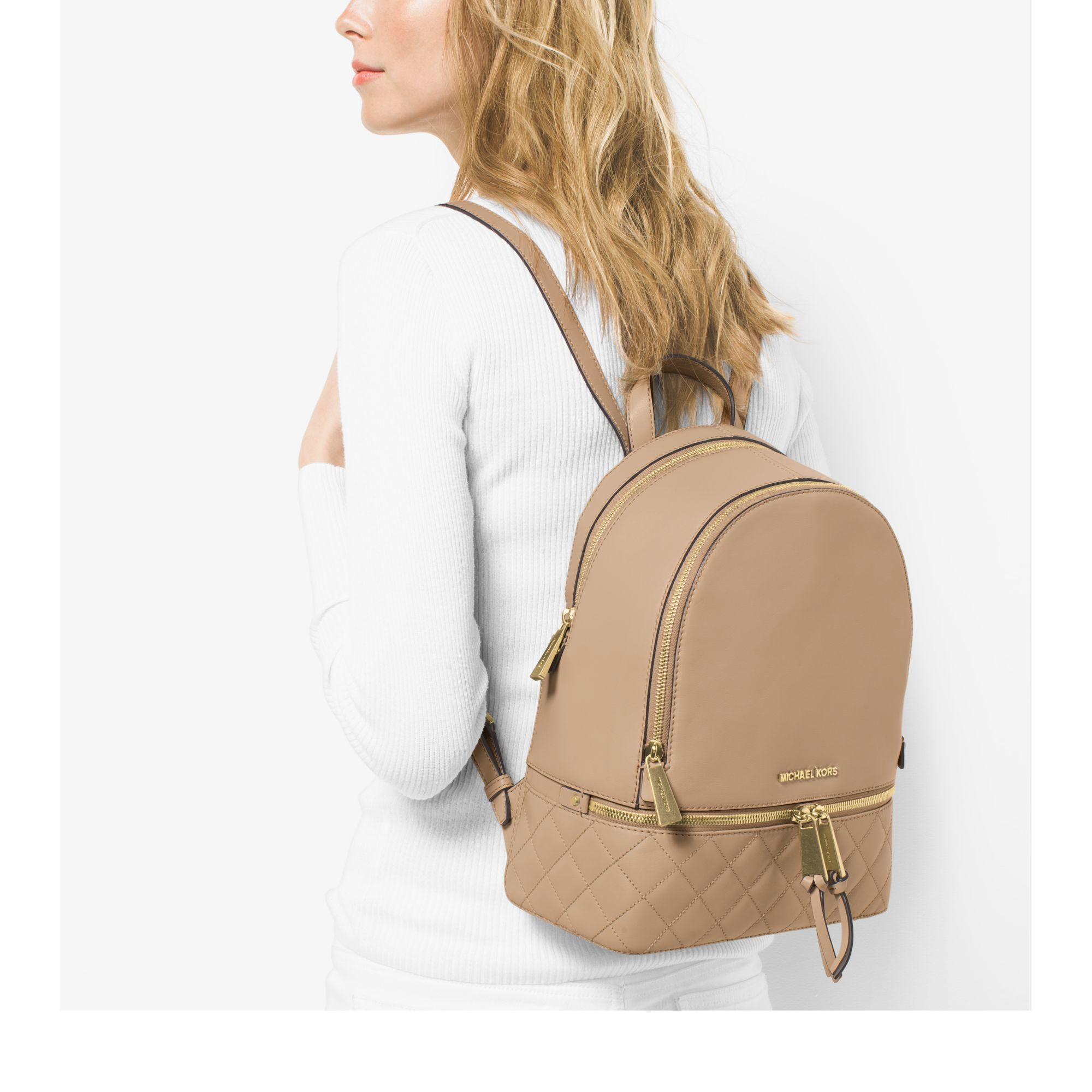 4e7a0fe51a602 ... Michael kors Rhea Medium Quilted-leather Backpack in Natural ...