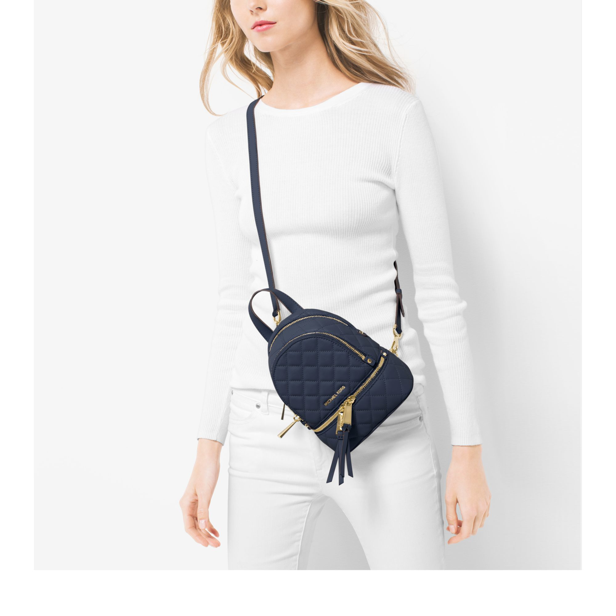 cf520feb246f Michael Kors Rhea Extra-small Quilted-leather Backpack in Blue - Lyst