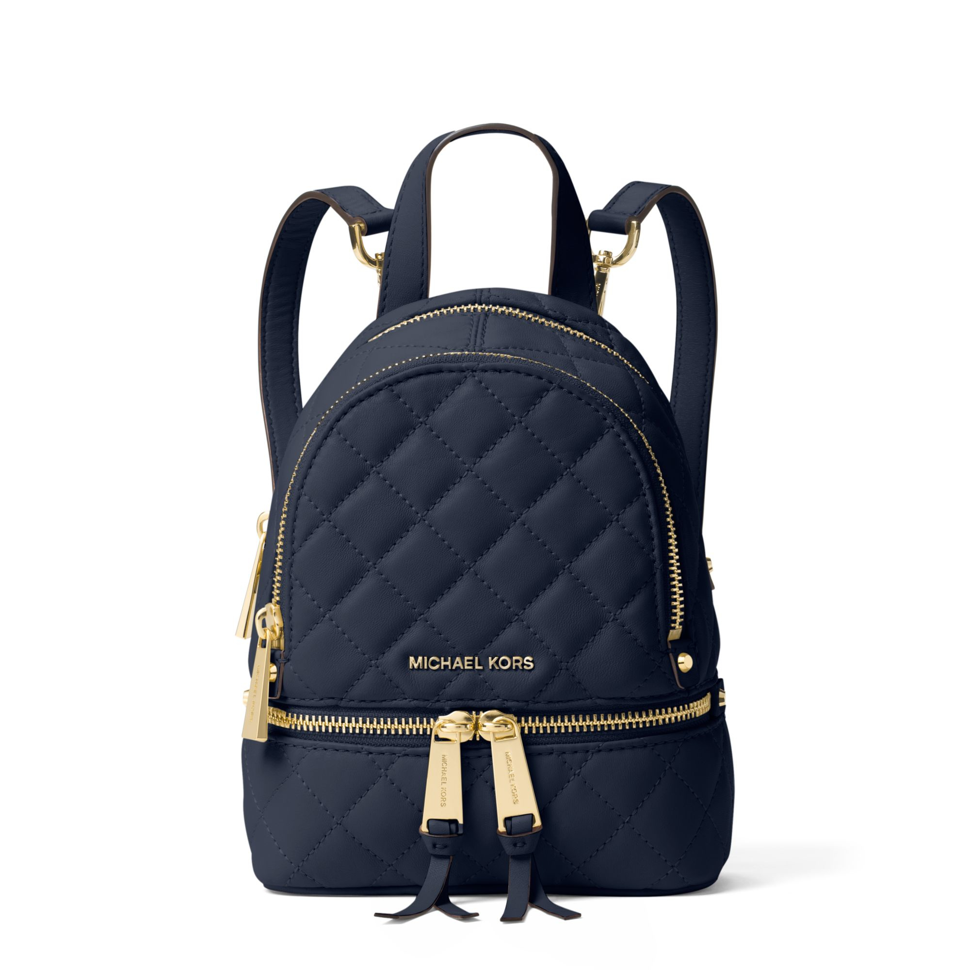 michael kors rhea extra small quilted leather backpack in blue lyst
