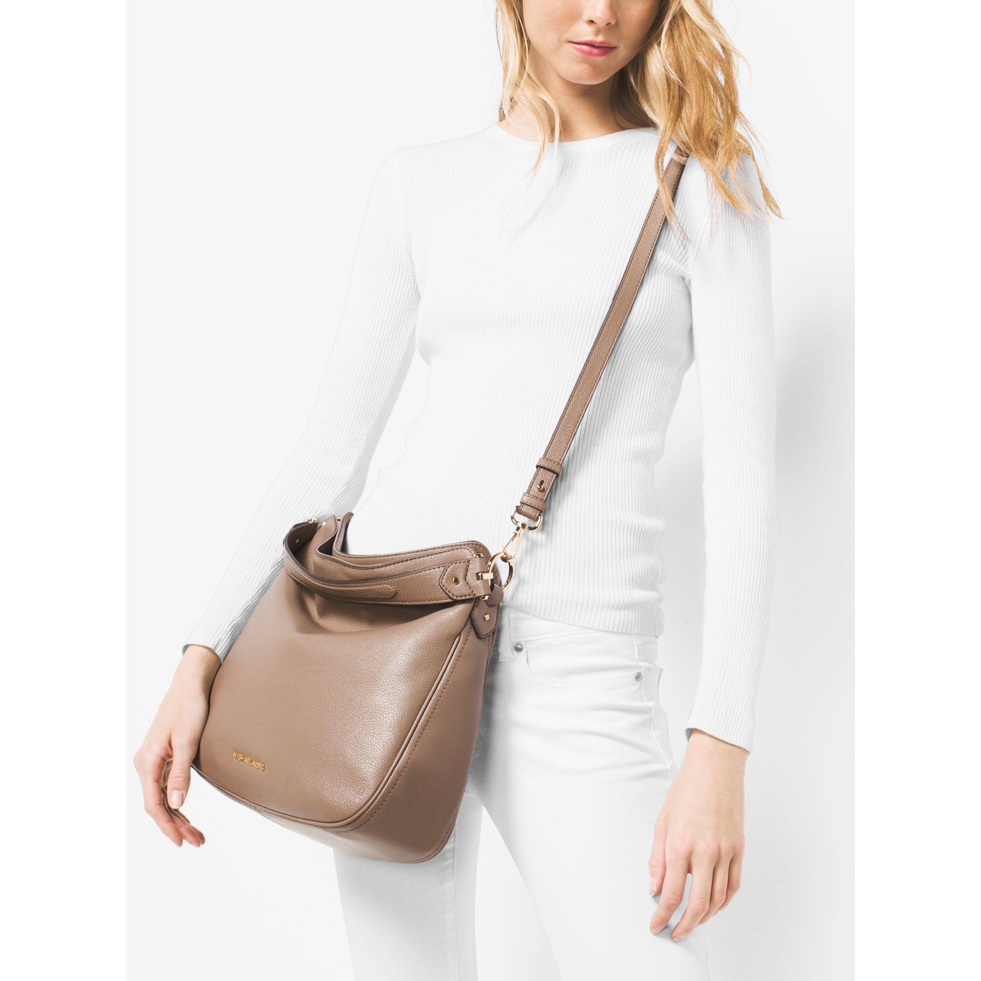 660a5f22fd Lyst - Michael Kors Heidi Medium Leather Shoulder Bag in Natural