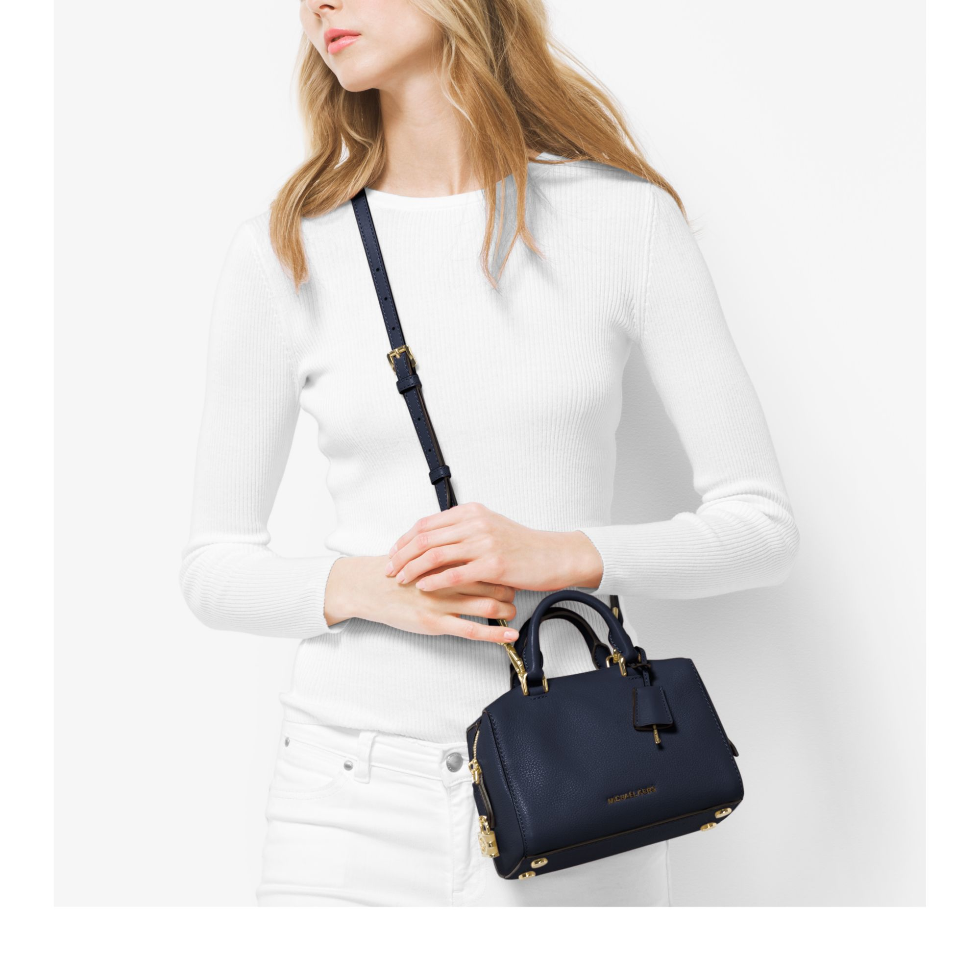 0b65f450a9 ... Lyst - Michael Kors Kirby Extra-small Leather Satchel in Blu ...