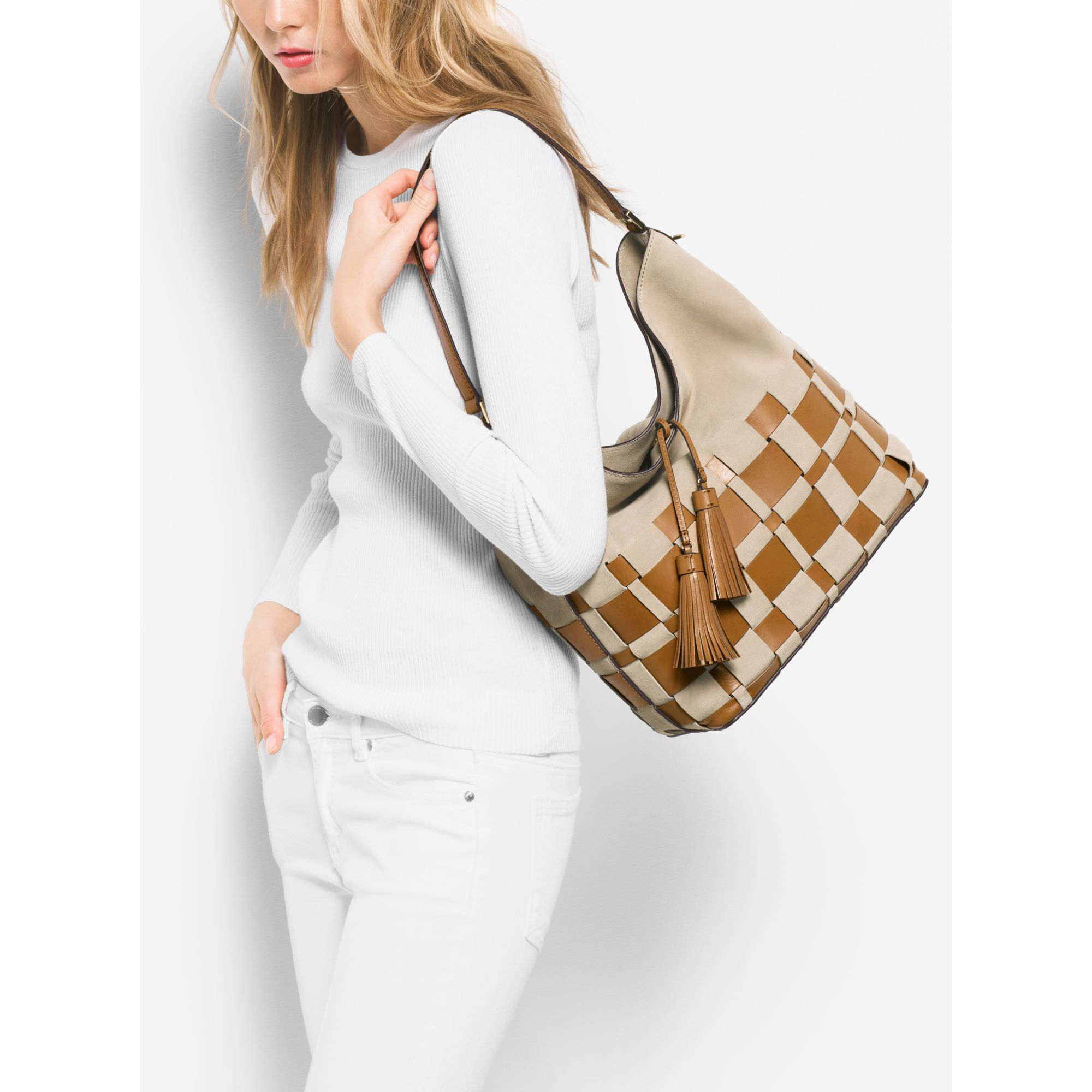 Lyst - Michael Kors Vivian Large Woven Suede And Leather Hobo in Natural 5f419f9e16543