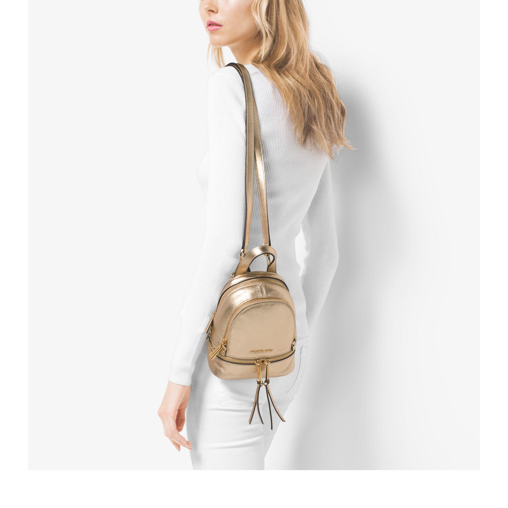 9942cd192cd80 Michael Kors Rhea Extra-small Metallic Leather Backpack