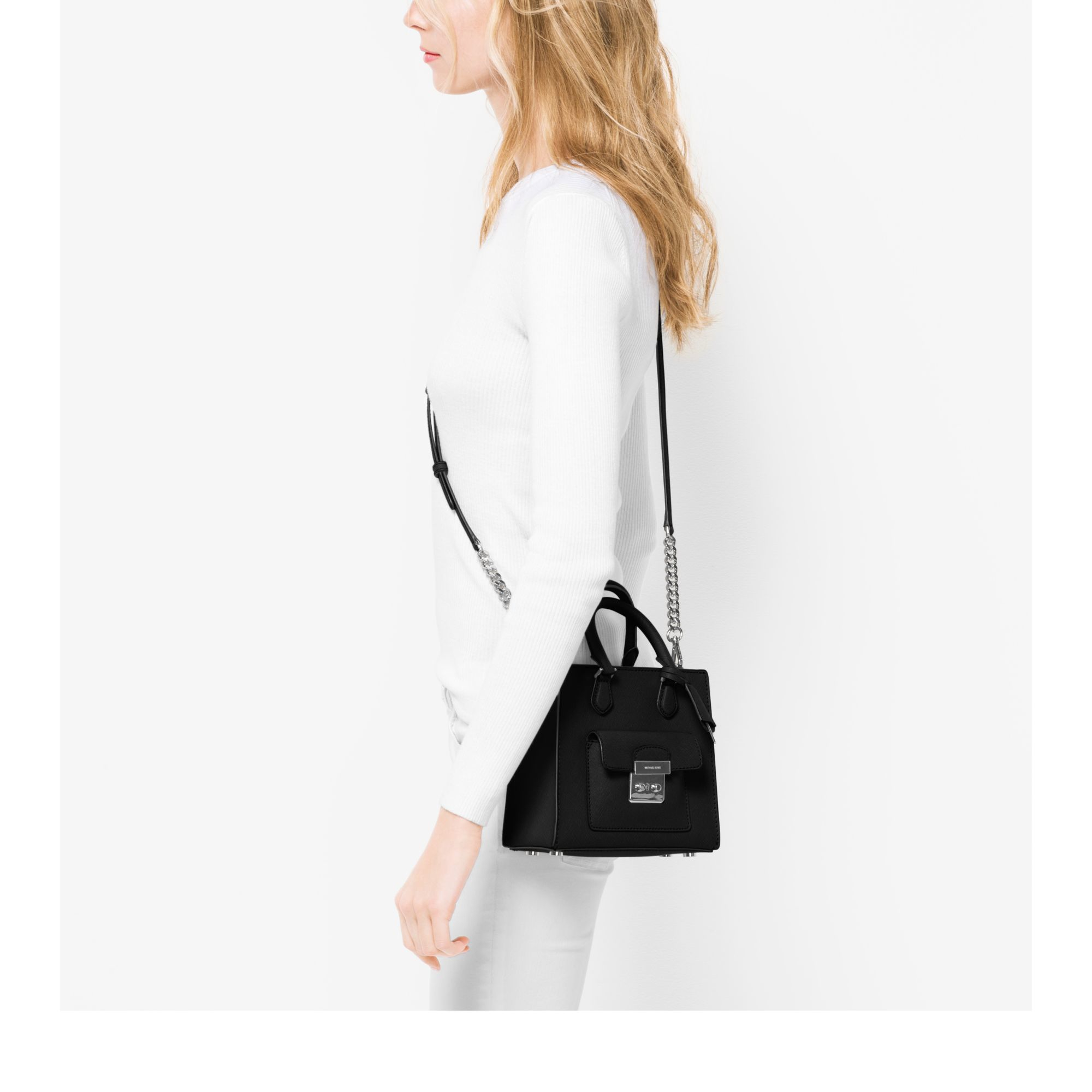 6be9ae58b186 Michael Kors Bridgette Small Saffiano Leather Crossbody Bag in Black ...