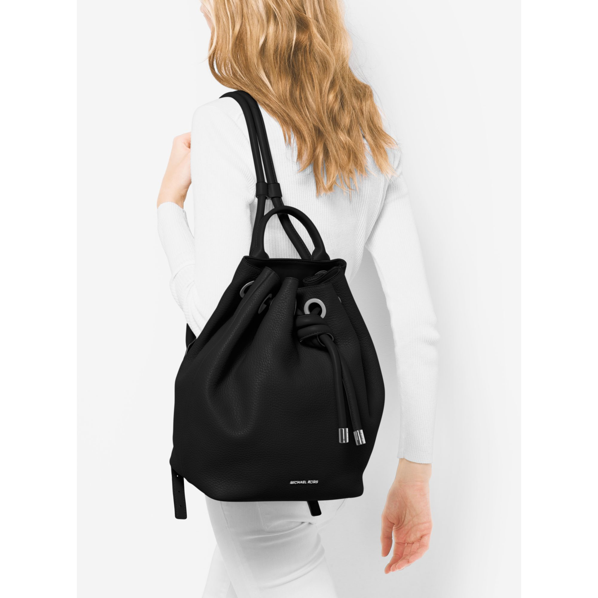 8e2dc15a23ee Michael Kors Dalia Large Leather Backpack in Black - Lyst