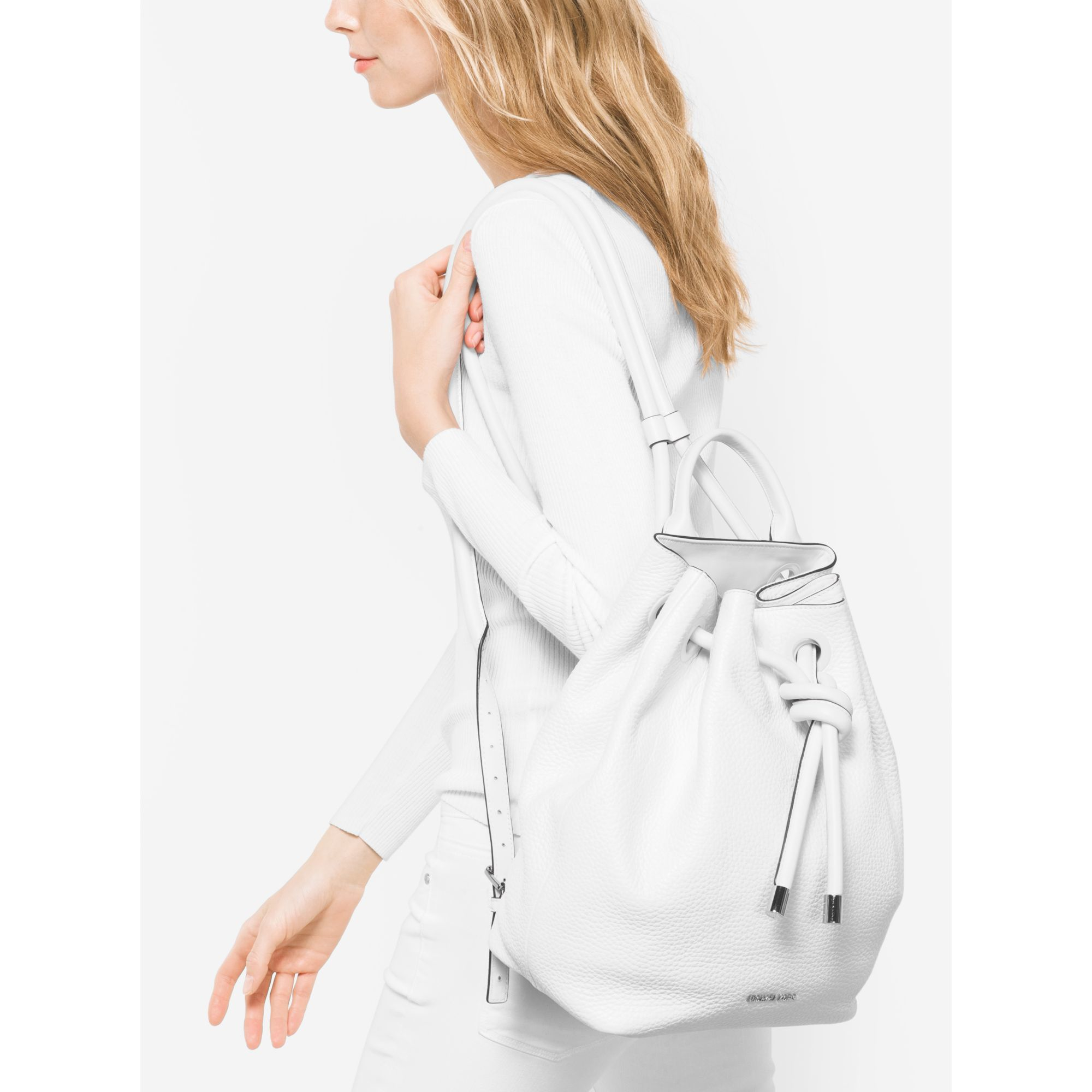 db074bfcf2e6 ... spain lyst michael kors dalia large leather backpack in white 07b87  3875d