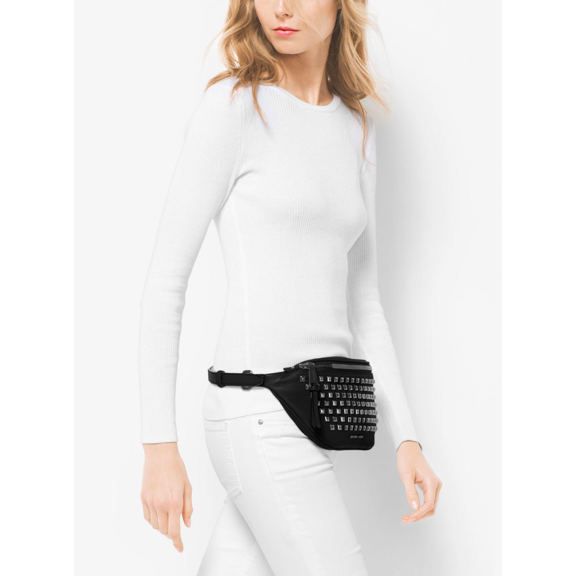 Rhea Leather Pyramid Studded Belt Bag