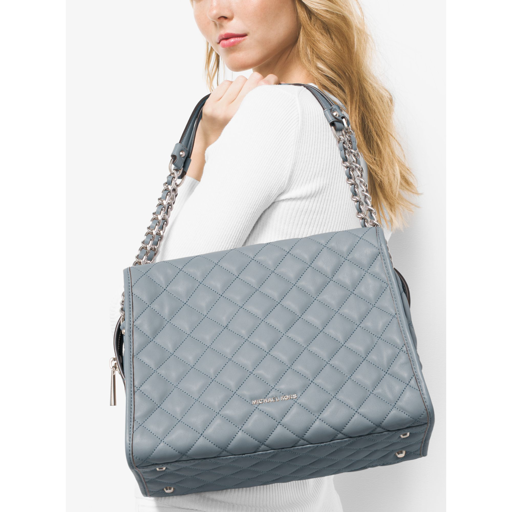 487a67d3d75e Michael Kors Rachel Large Quilted Leather Shoulder Bag In Blue Lyst