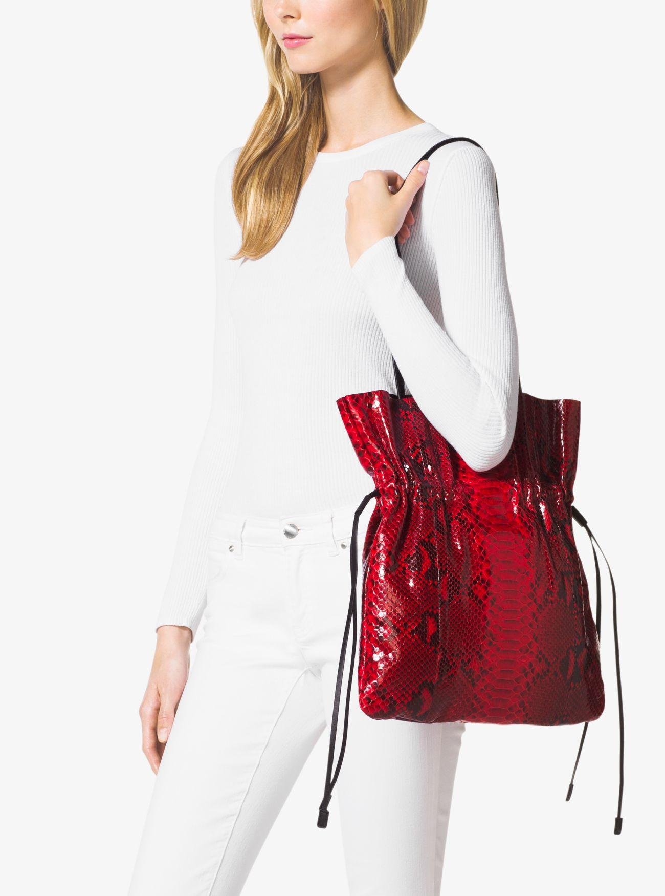 e4888028a6c7 Michael Kors Salina Runway Medium Python Tote in Red - Lyst