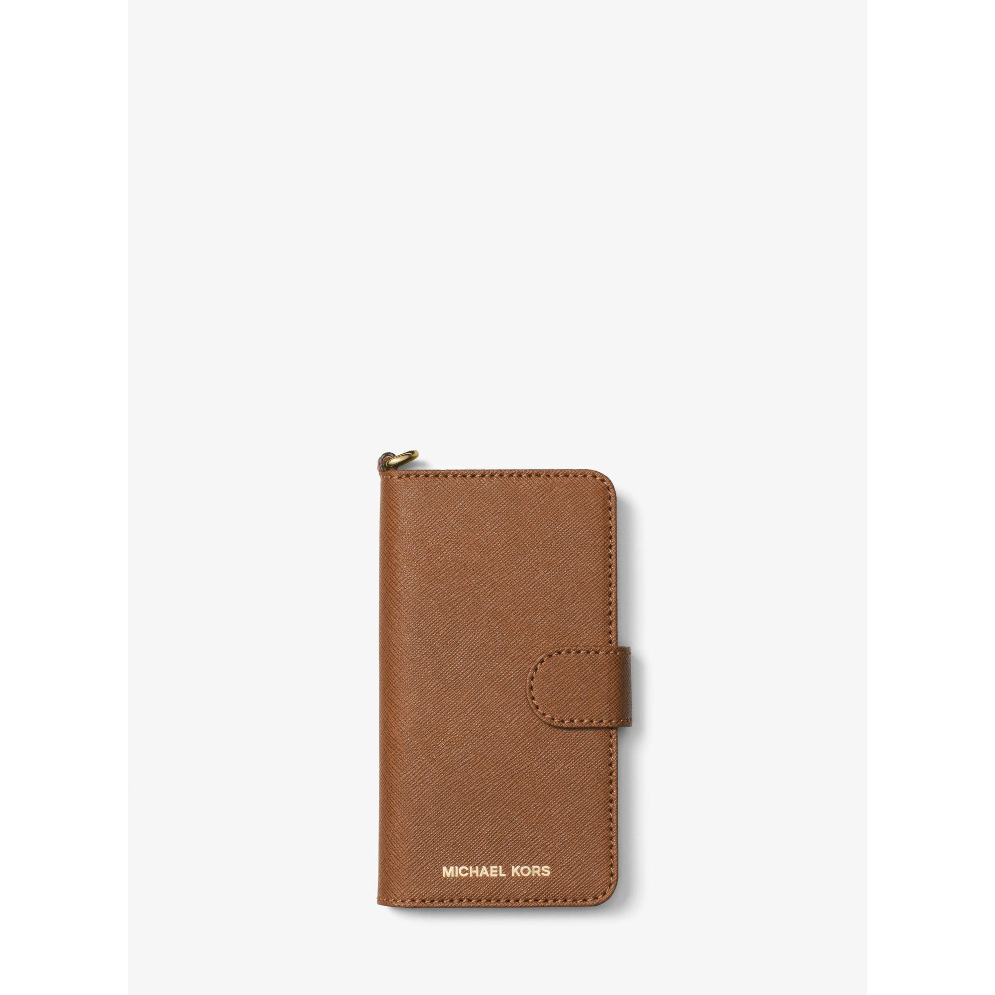 ... kors Saffiano Leather Folio Phone Case For Iphone 7 in Brown : Lyst