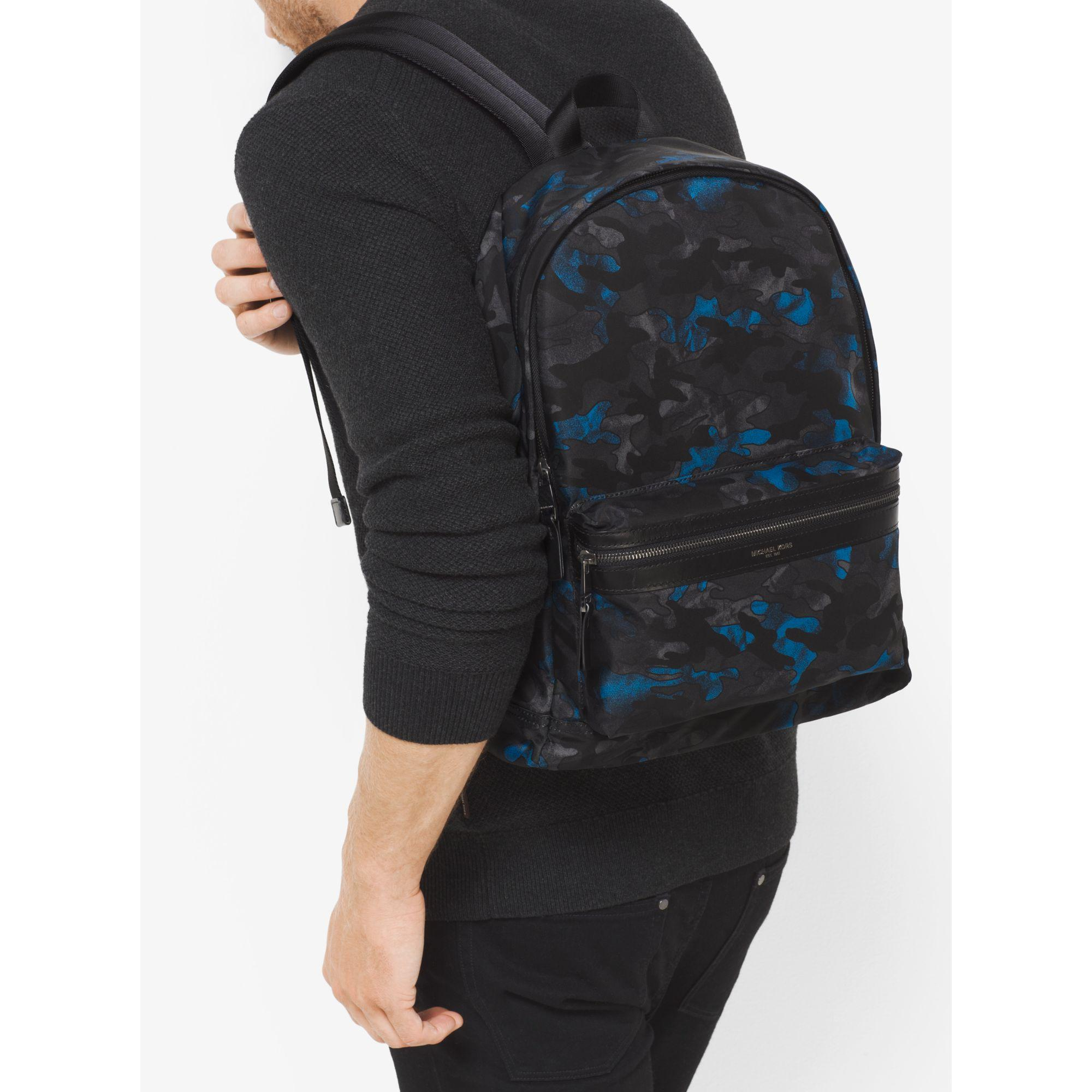 4be9a34fc9a7 Lyst Michael Kors Kent Camouflage Nylon Backpack In Blue For Men