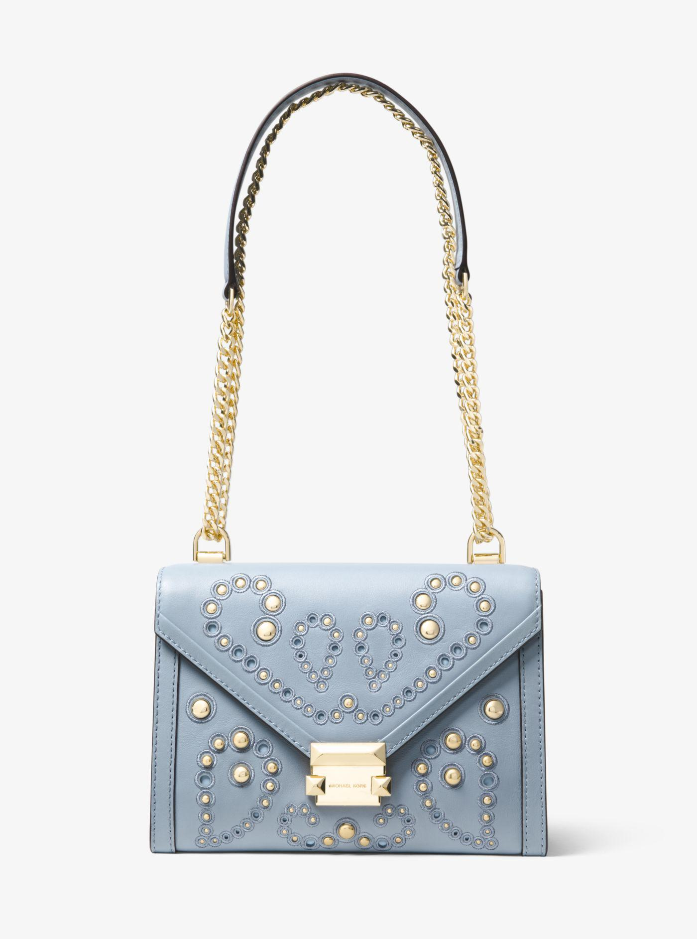 0a927e0a64e8f1 Lyst - Michael Kors Whitney Large Embellished Leather Convertible Shoulder  Bag in Blue