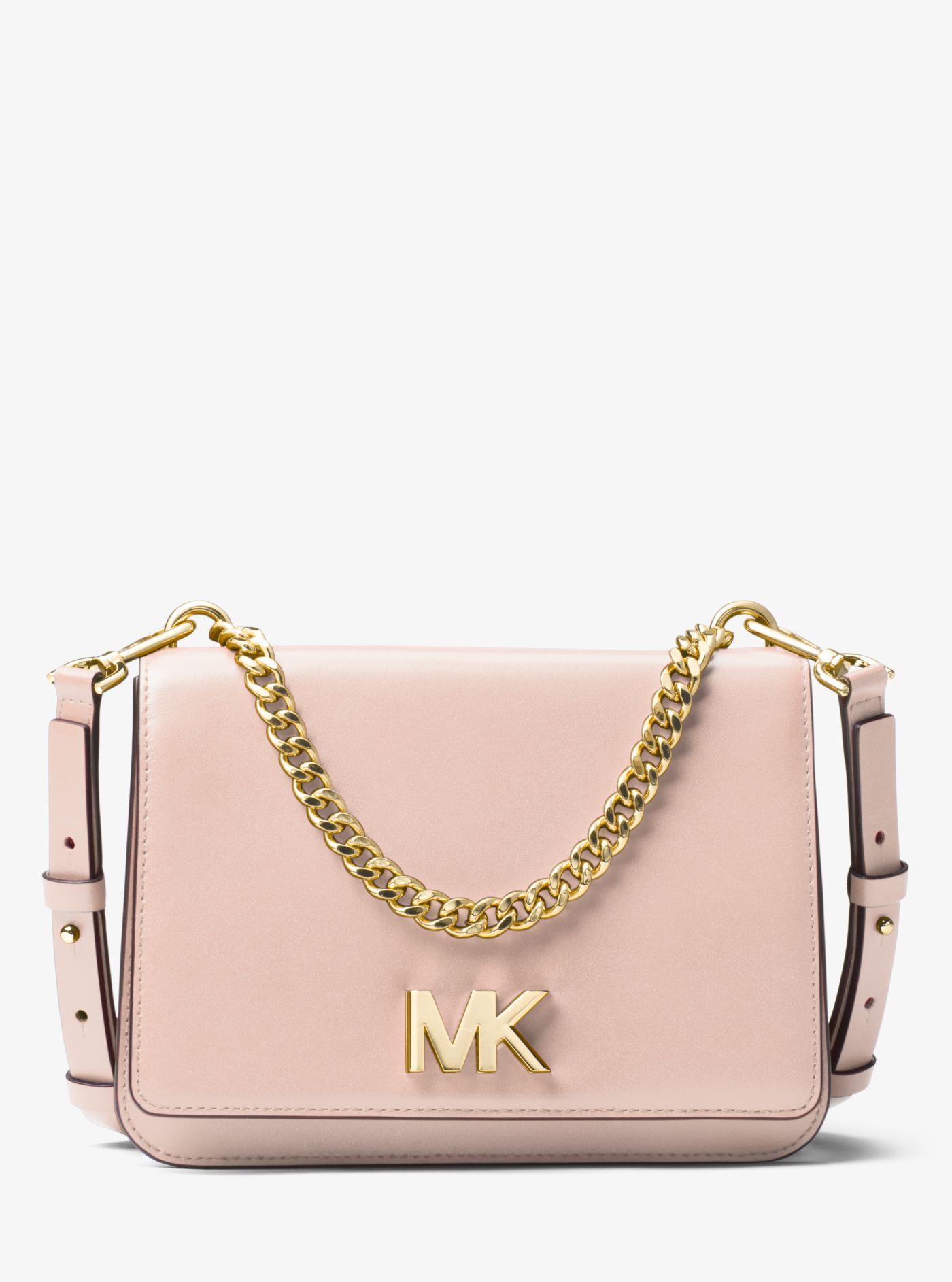 7c9f8a526c3a Lyst - Michael Kors Mott Leather Crossbody Bag in Pink