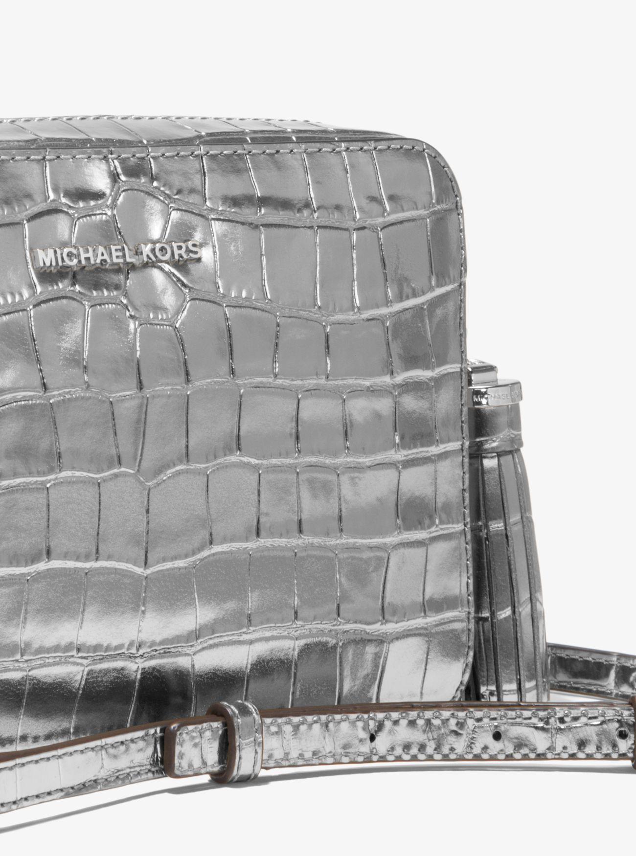 bf4f005b0e2f Lyst - Michael Kors Ginny Metallic Embossed-leather Crossbody in ...