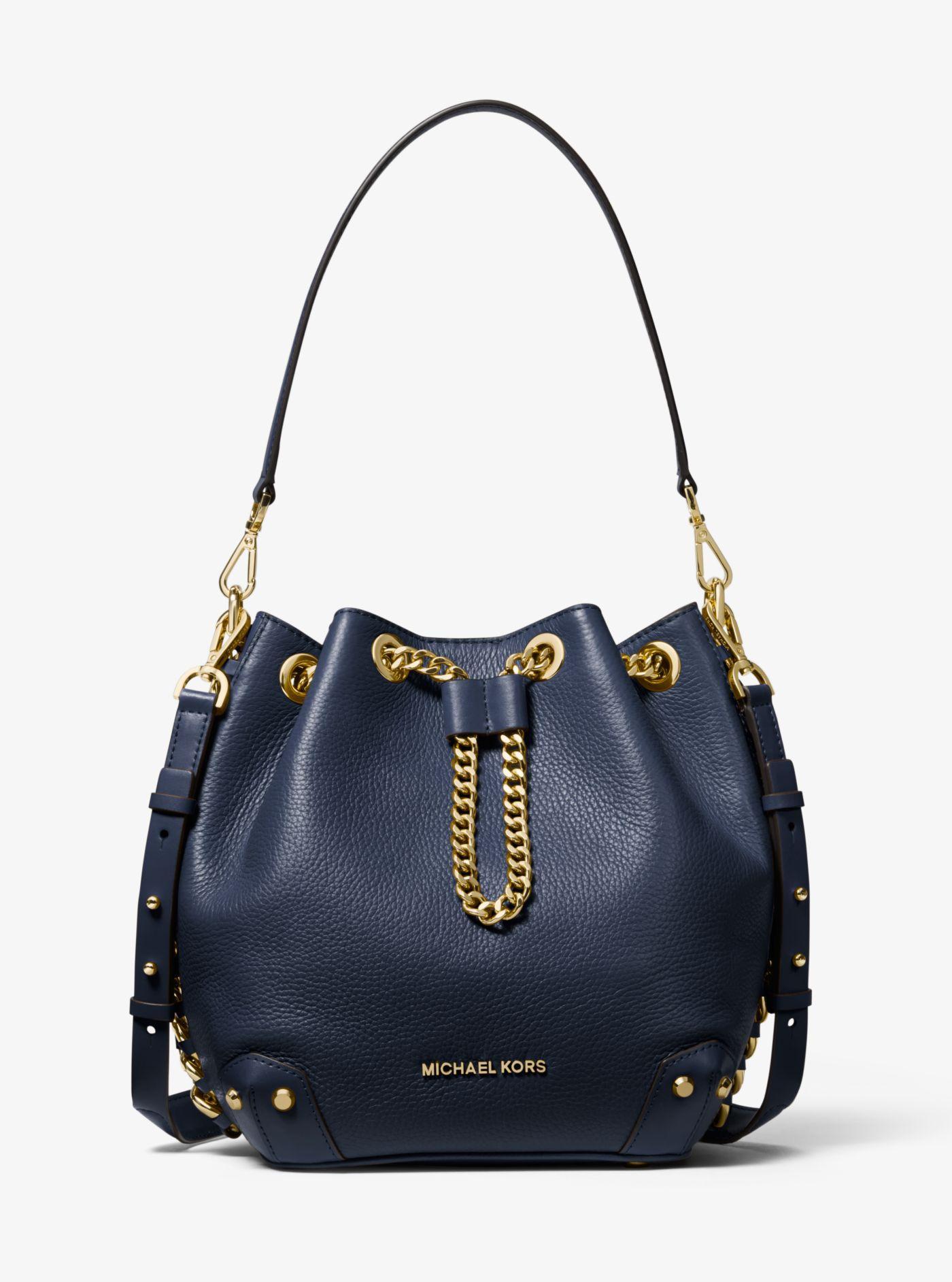 Alanis Medium Pebbled Leather Bucket Bag