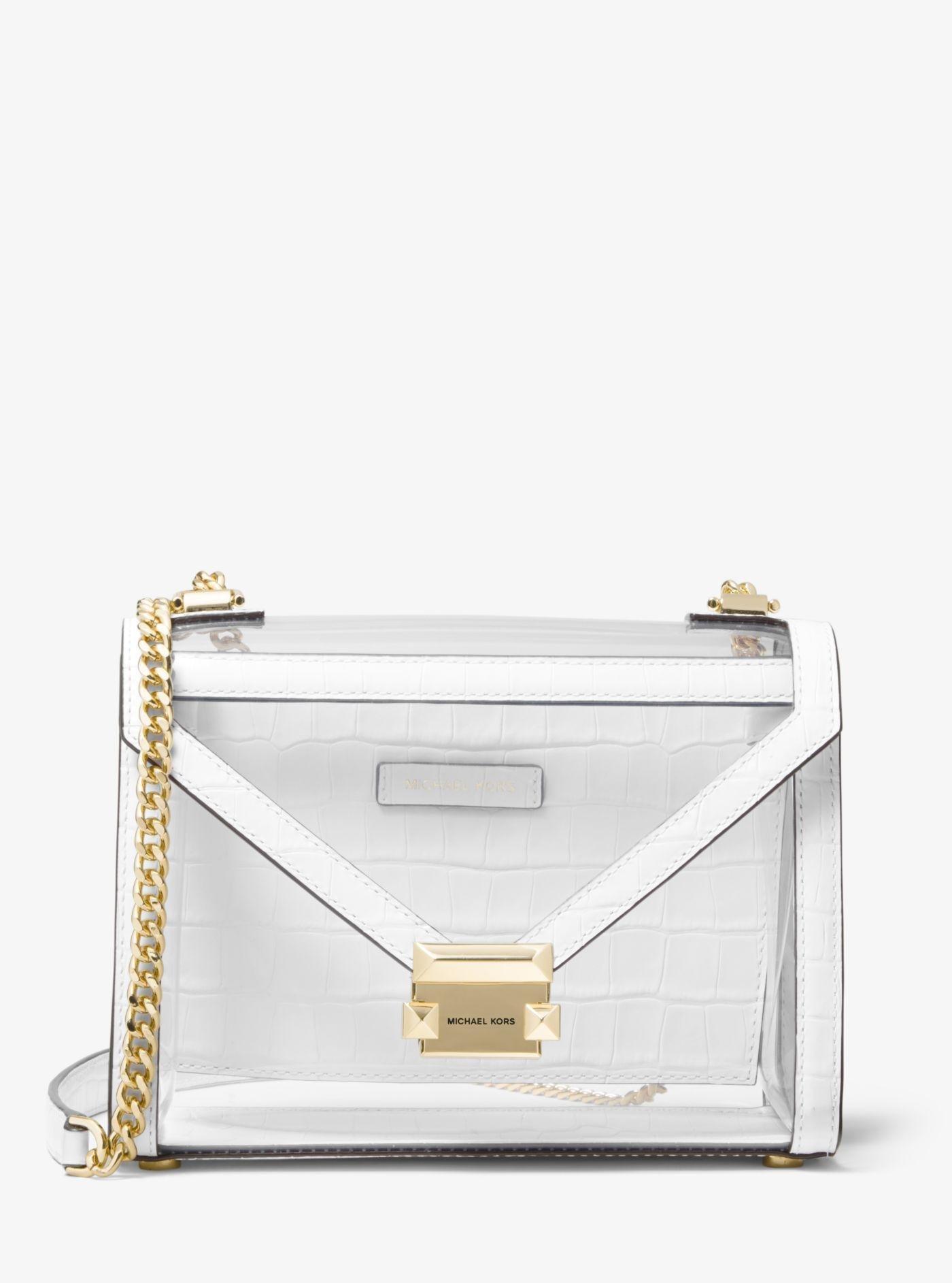 Grand sac porté épaule convertible Whitney en cuir et partie transparente
