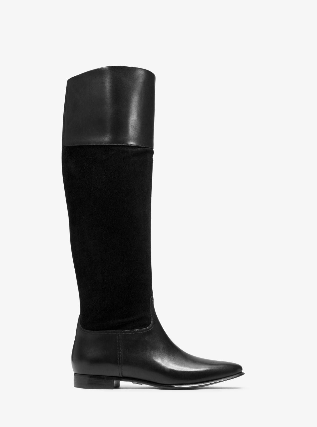 Michael Kors Rooney Leather And Suede Boot in Black